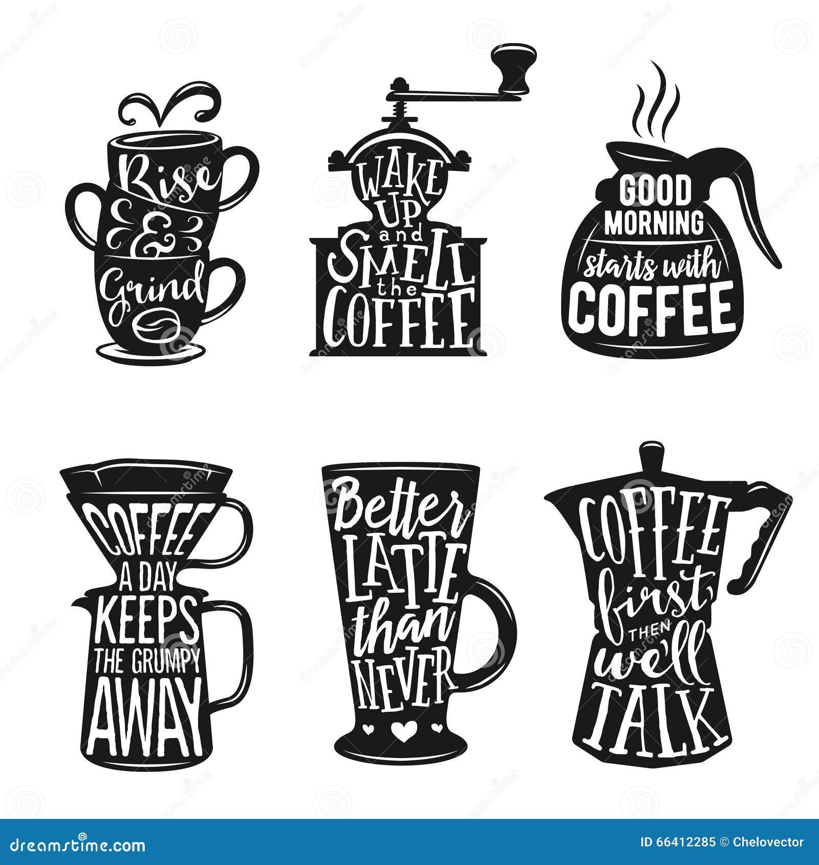 Insieme di tipografia relativa del caffè Citazioni circa caffè Illustrazioni d annata di vettore