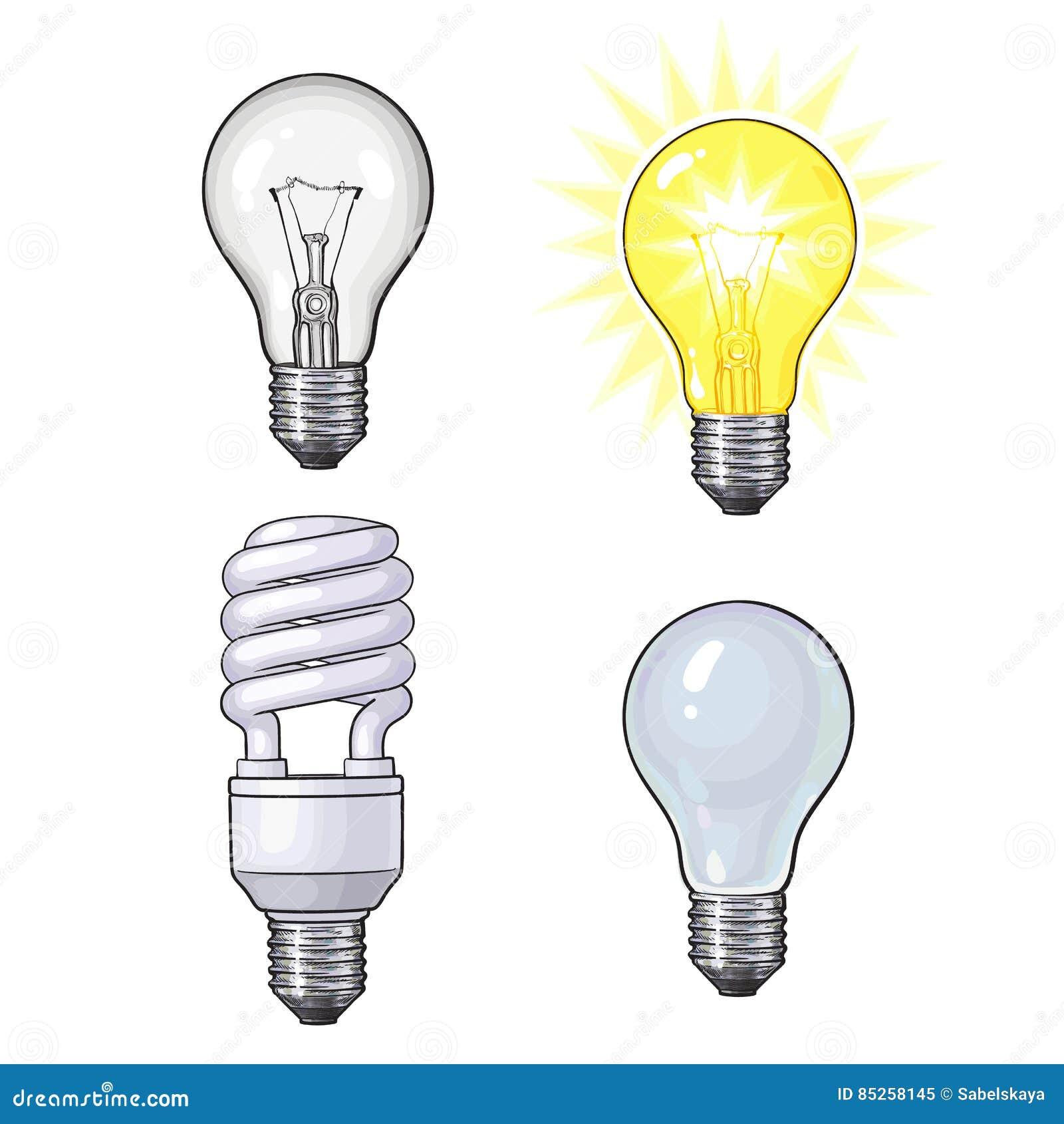 Insieme di trasparente, di opaco, ardore e la lampadina economizzatrice d energia