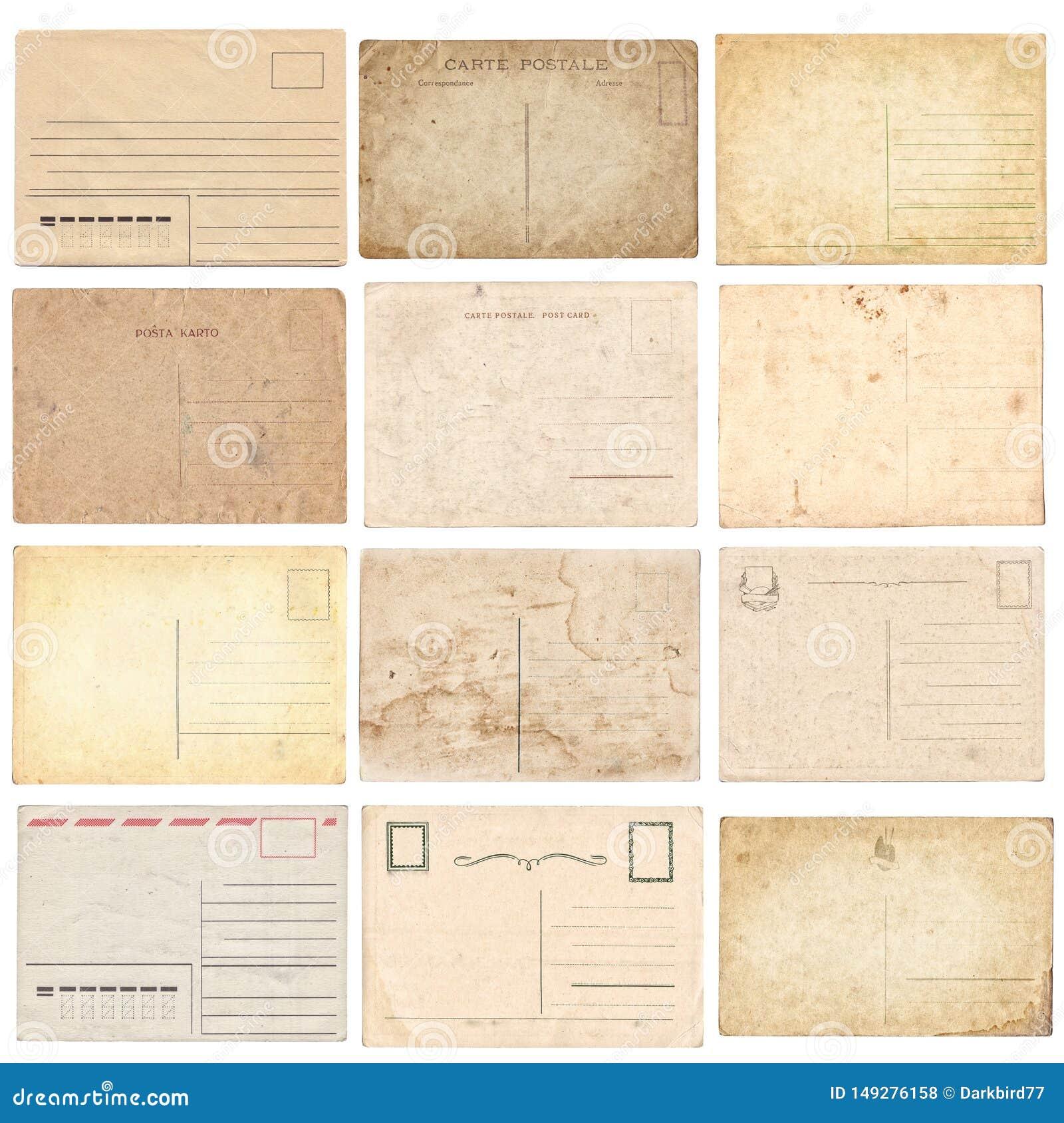 Insieme di varie vecchie cartoline d annata isolate su bianco