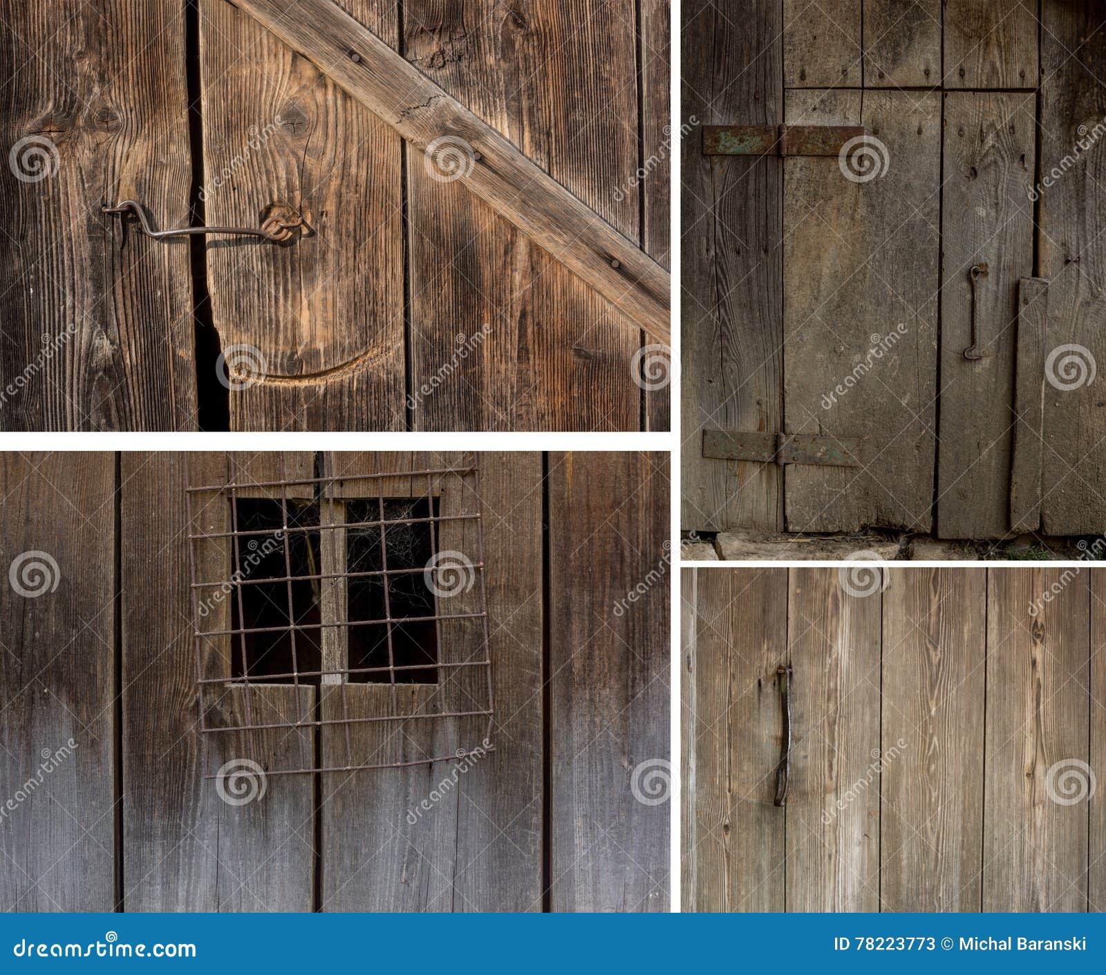 Insieme di vecchie porte e finestre di legno immagine for Finestre di legno