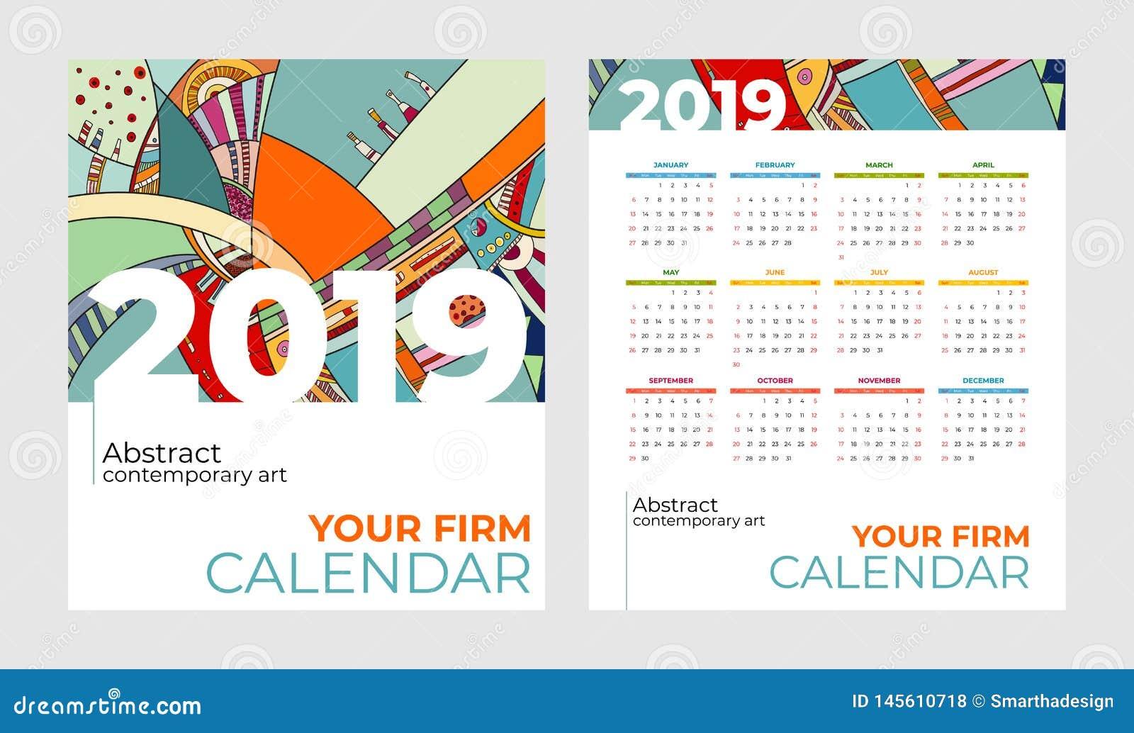Insieme di vettore di arte contemporanea dell estratto del calendario di 2019 tasche Scrittorio, schermo, mesi da tavolino 2019,