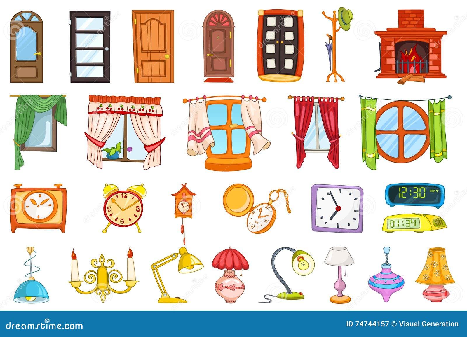Insieme di vettore degli oggetti dell 39 interno della casa for Casa y muebles en ingles