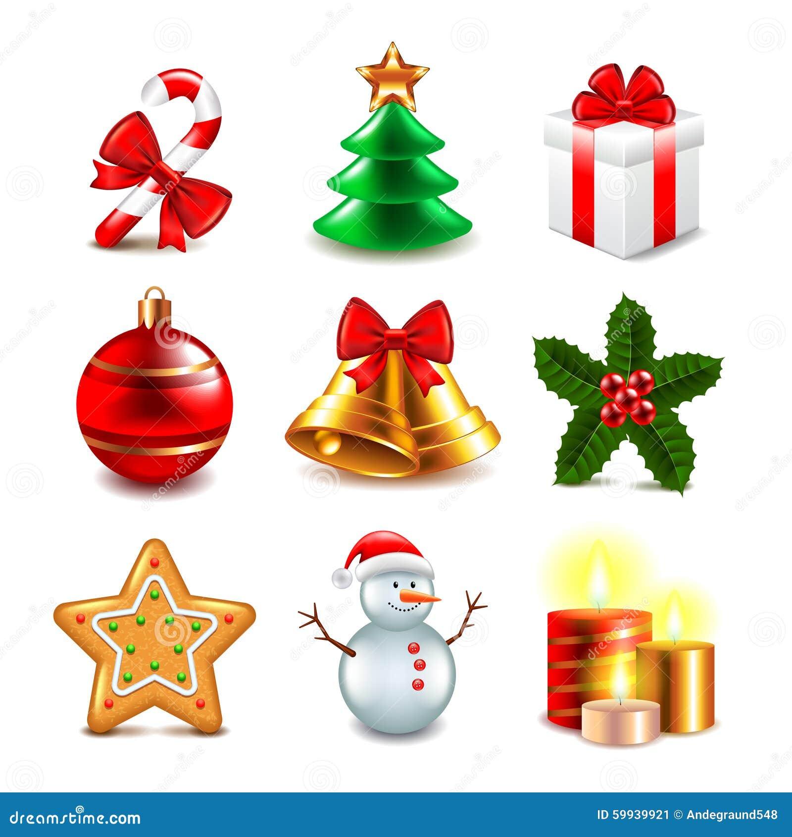 Oggetti Di Natale.Insieme Di Vettore Degli Oggetti Di Natale Illustrazione