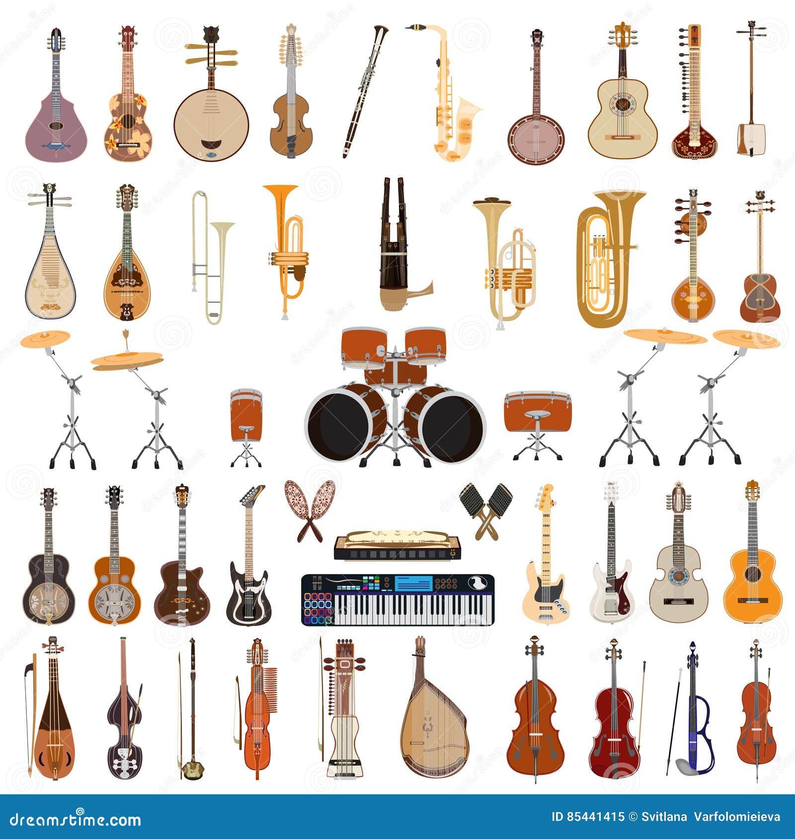 Insieme di vettore degli strumenti musicali su fondo bianco
