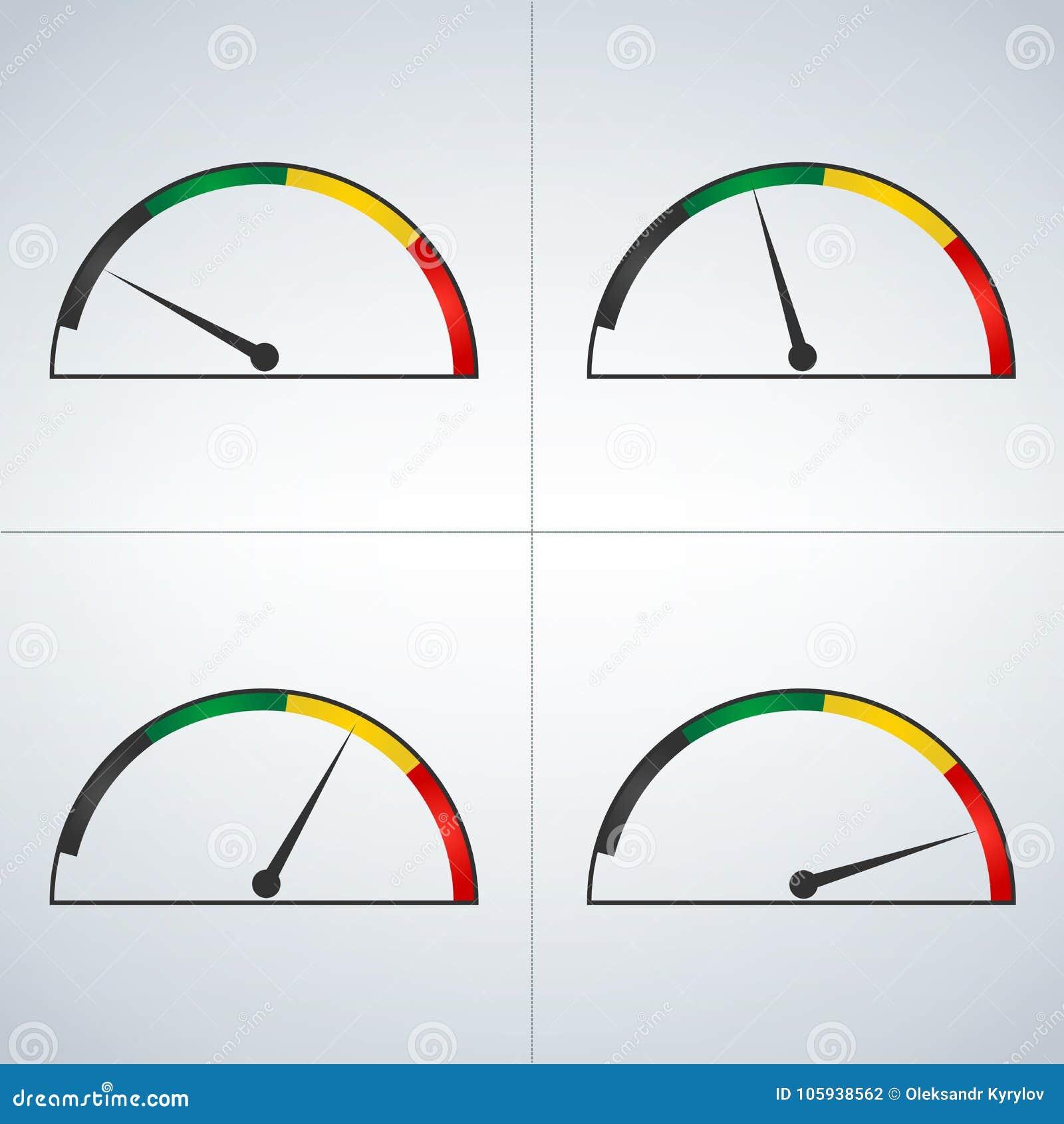 Insieme di vettore dei calibri colorati che mostrano i livelli di potere dal minimo al livello Minimo -massimo Min a massimo