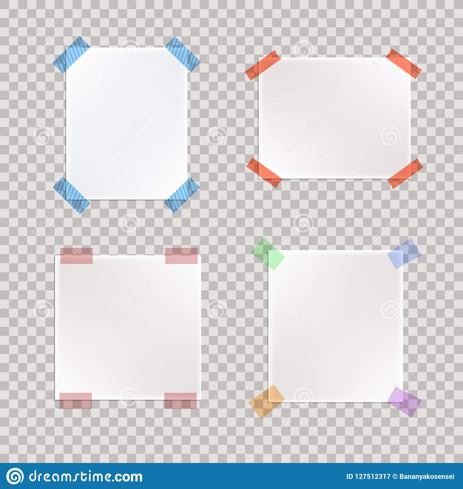 Insieme di vettore dei pezzi di carta legati realistici