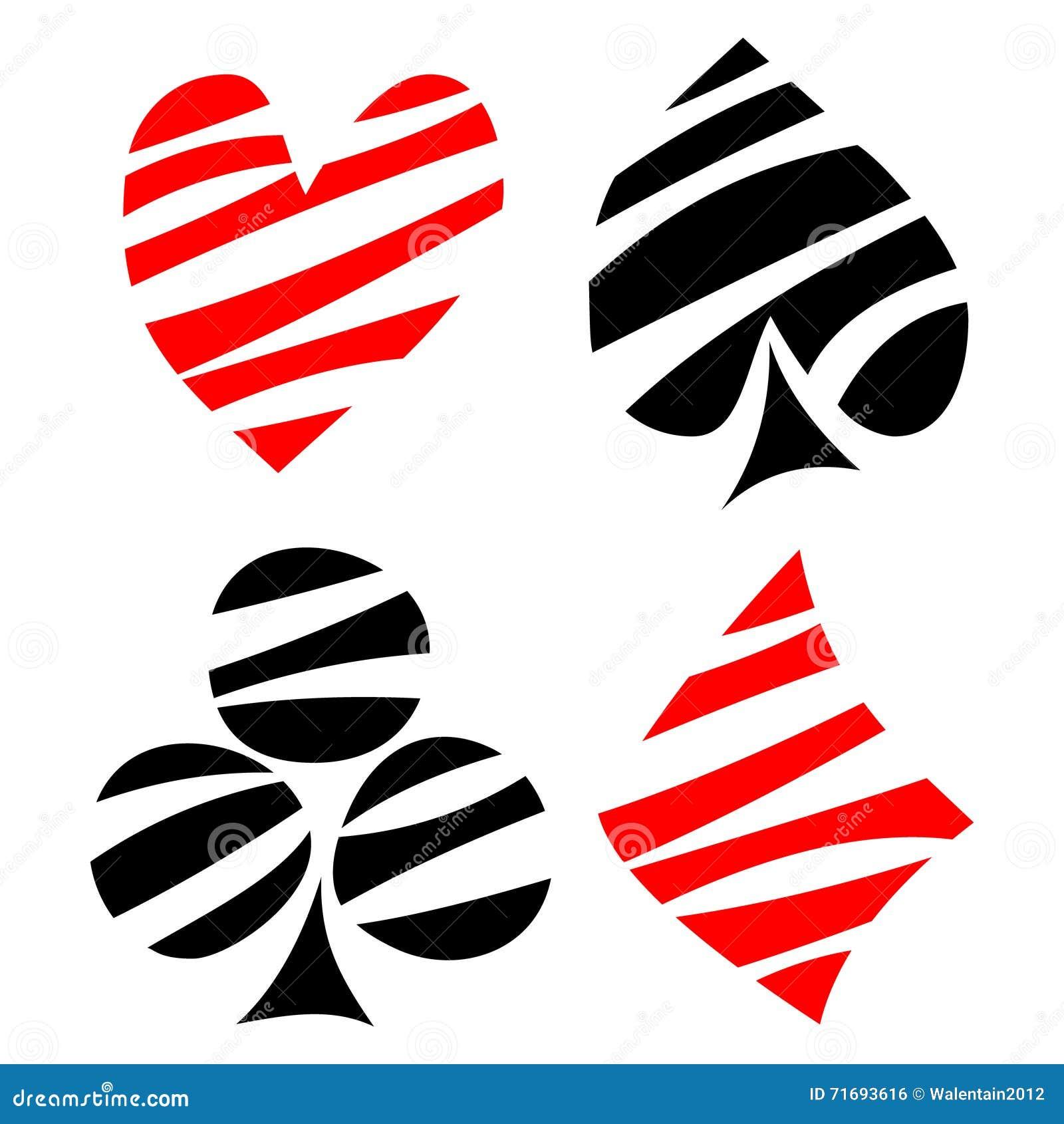 Insieme di vettore dei simboli della carta da gioco Nero decorativo disegnato a mano ed il rosso hanno allineato le icone isolate