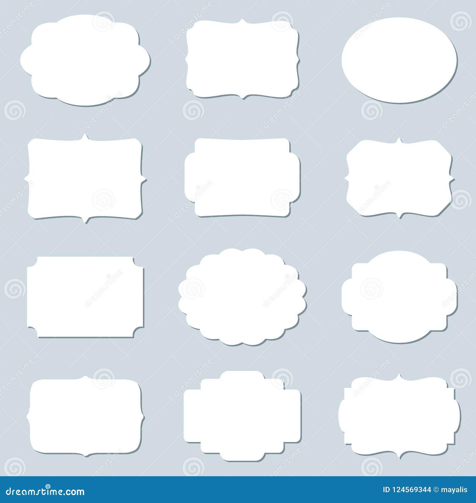 Insieme di vettore dei telai in bianco e delle etichette vuote