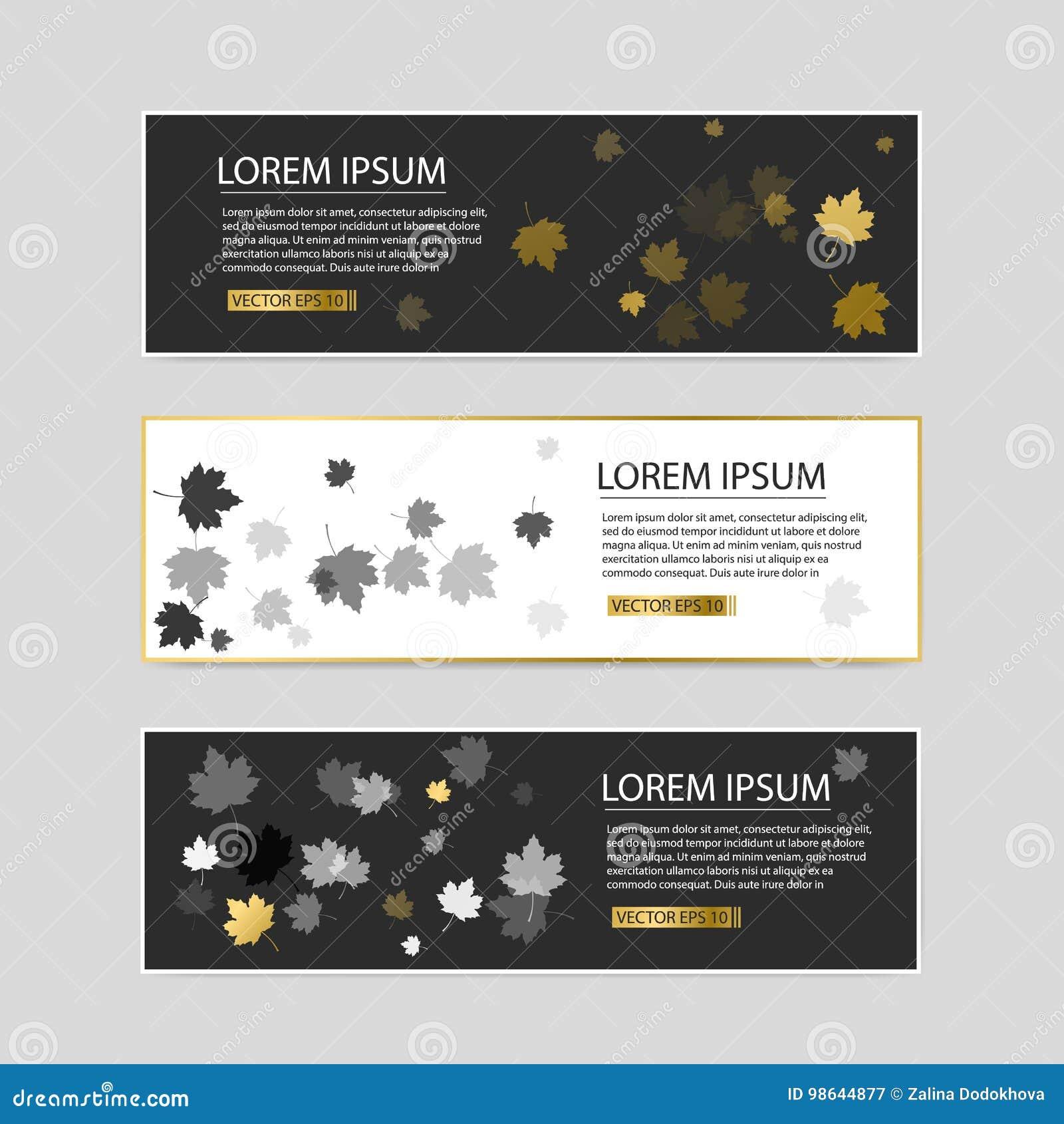 Insieme di vettore dell illustrazione variopinta delle insegne delle foglie di autunno