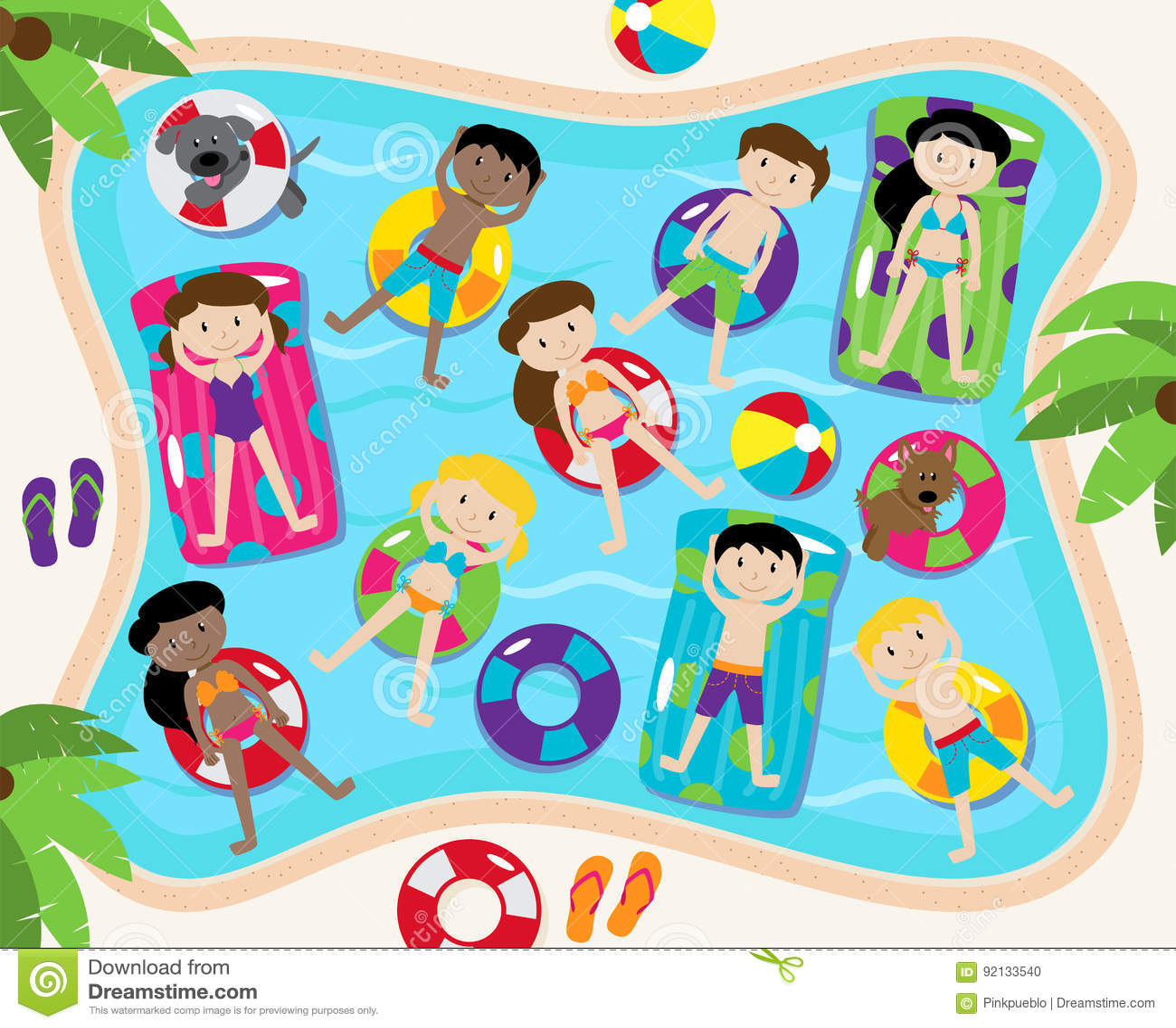 Insieme di vettore della festa in piscina compreso il for Party in piscina