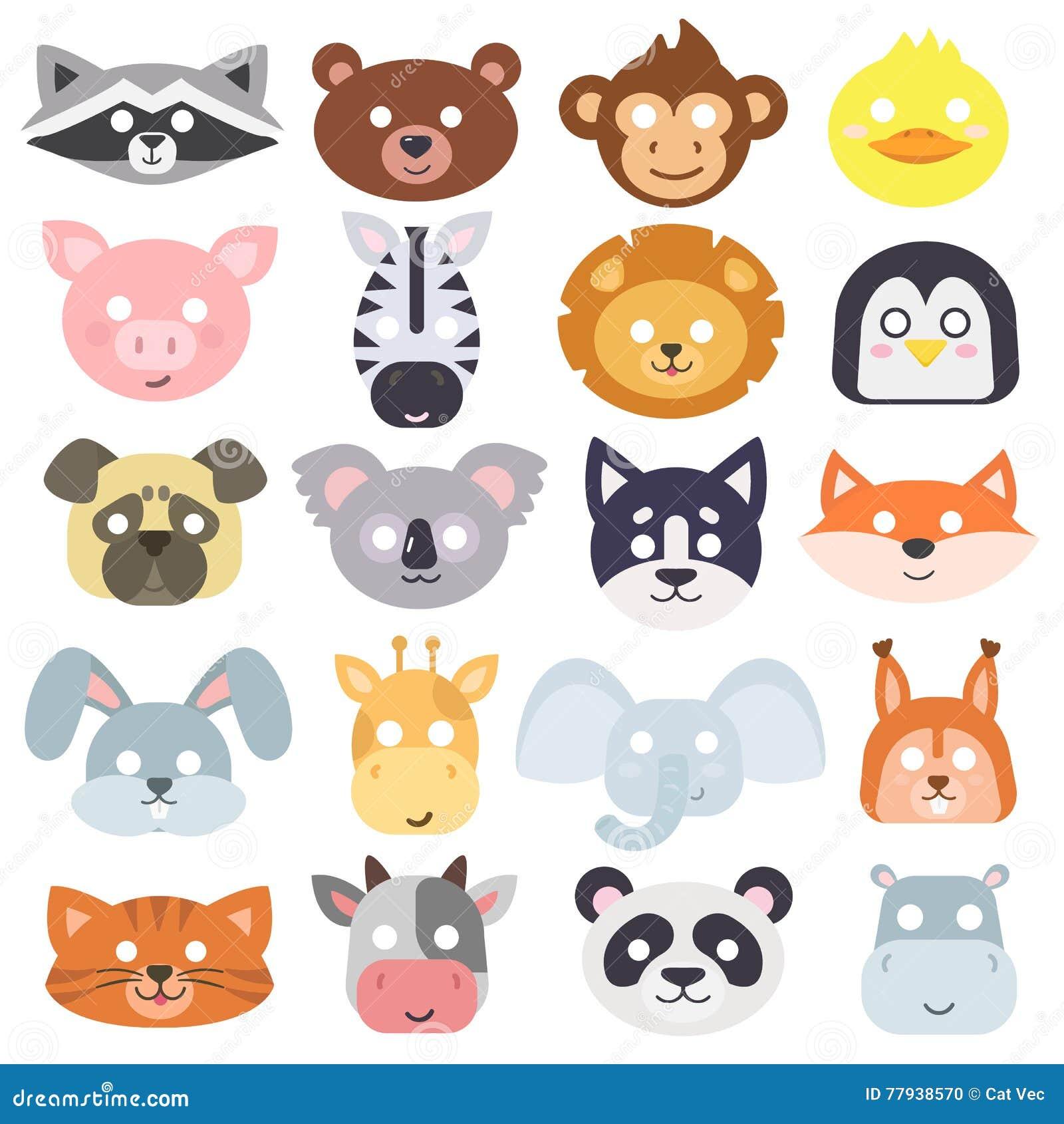 Insieme di vettore della maschera di carnevale degli for Maschere di animali di carnevale da colorare