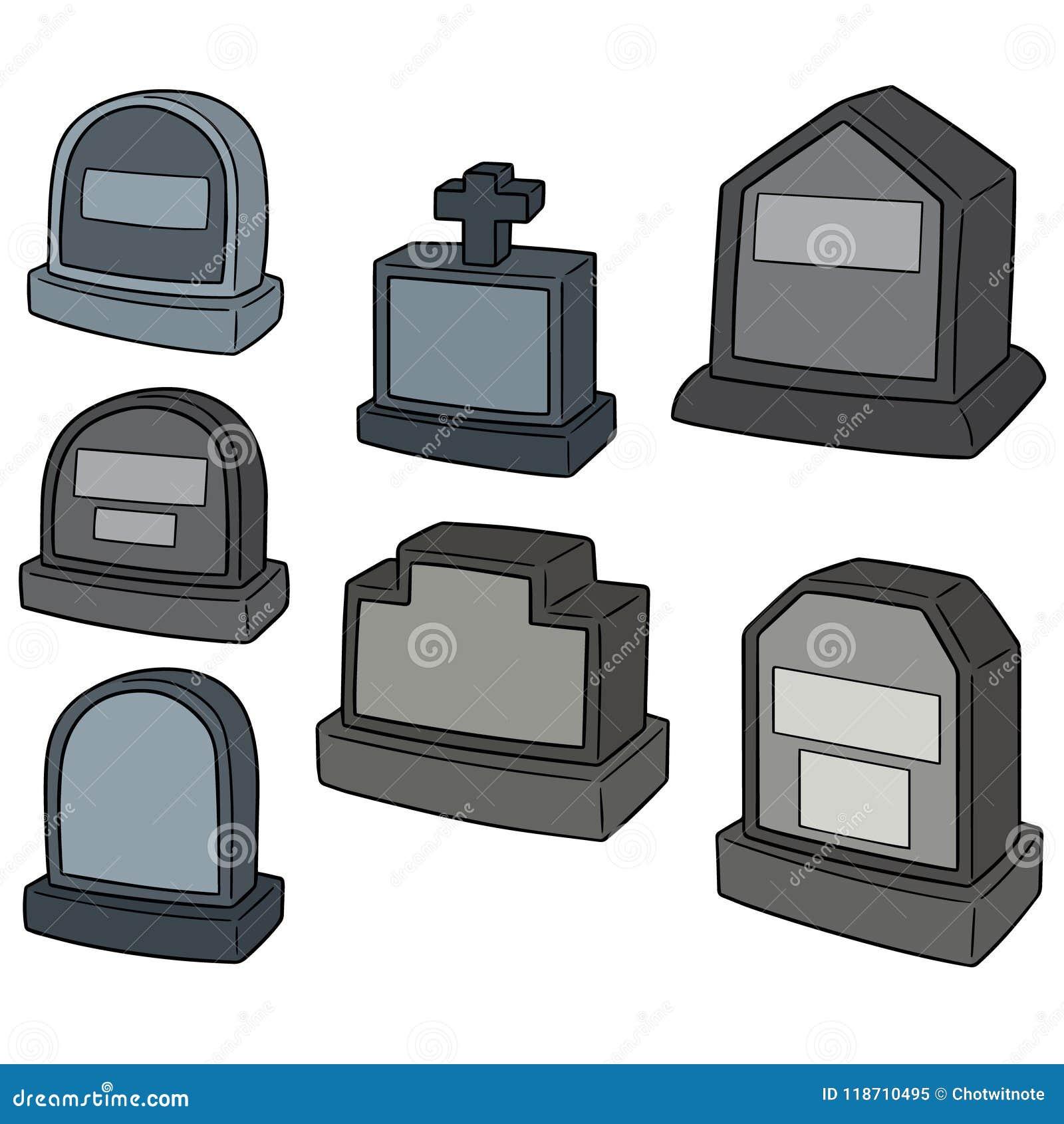 Insieme di vettore della pietra tombale