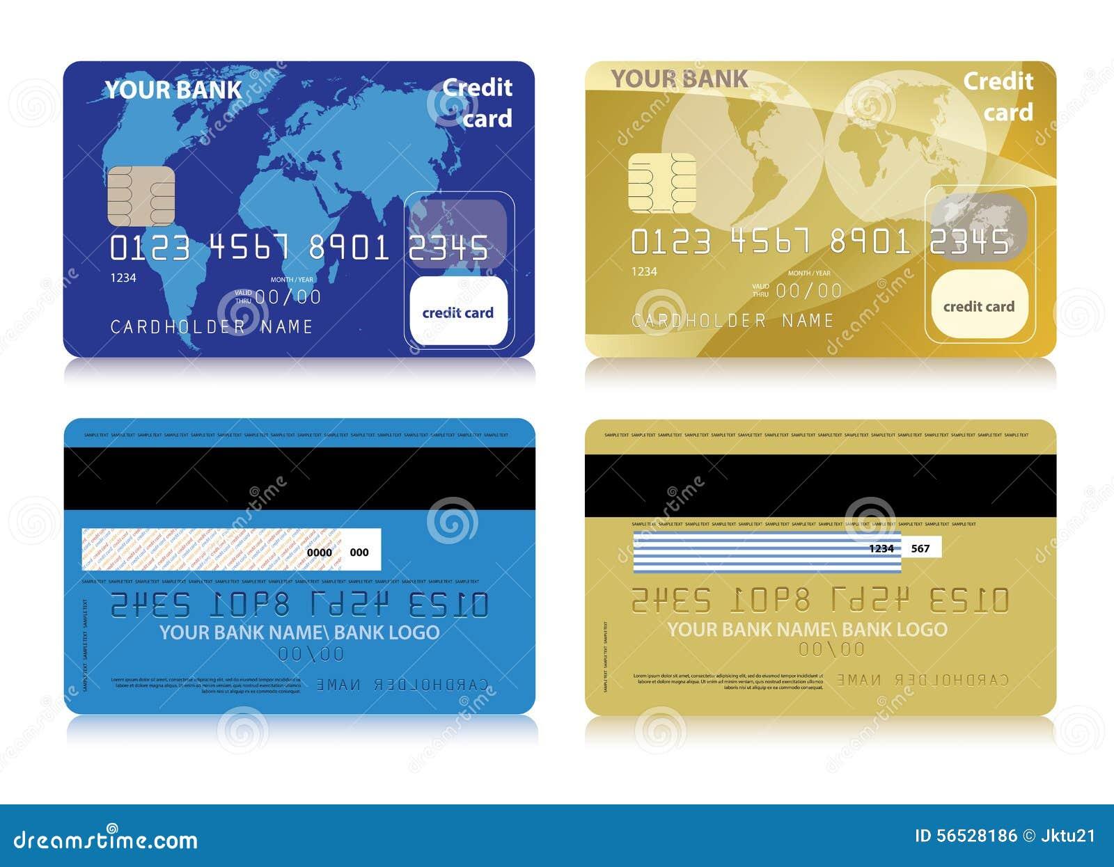 Insieme di vettore delle carte di credito isolate