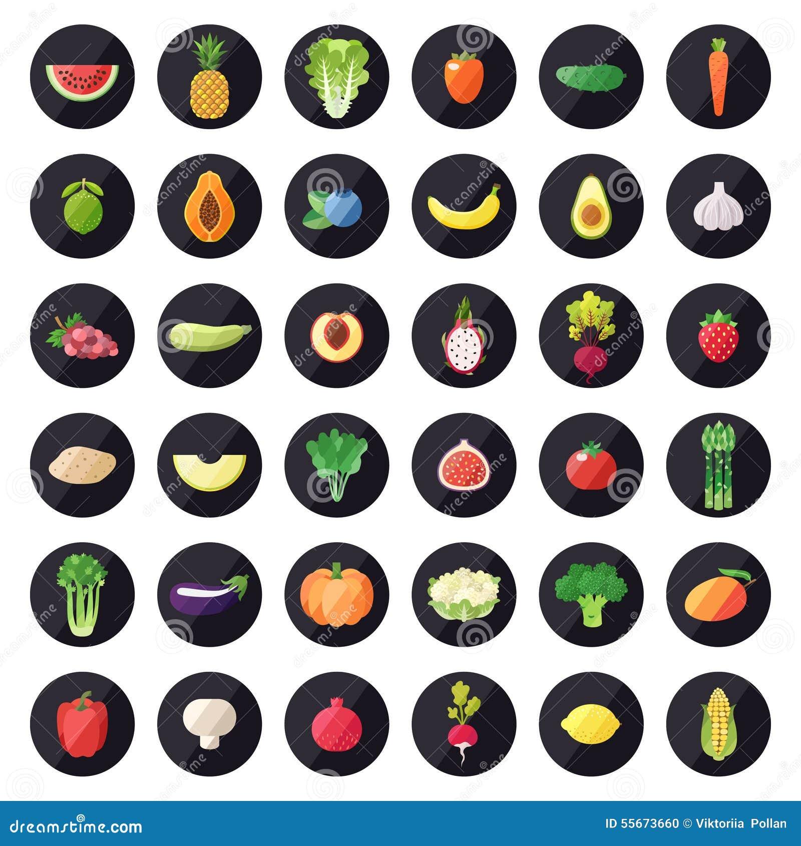 Insieme di vettore delle icone della frutta e della verdura Progettazione piana moderna multicolored