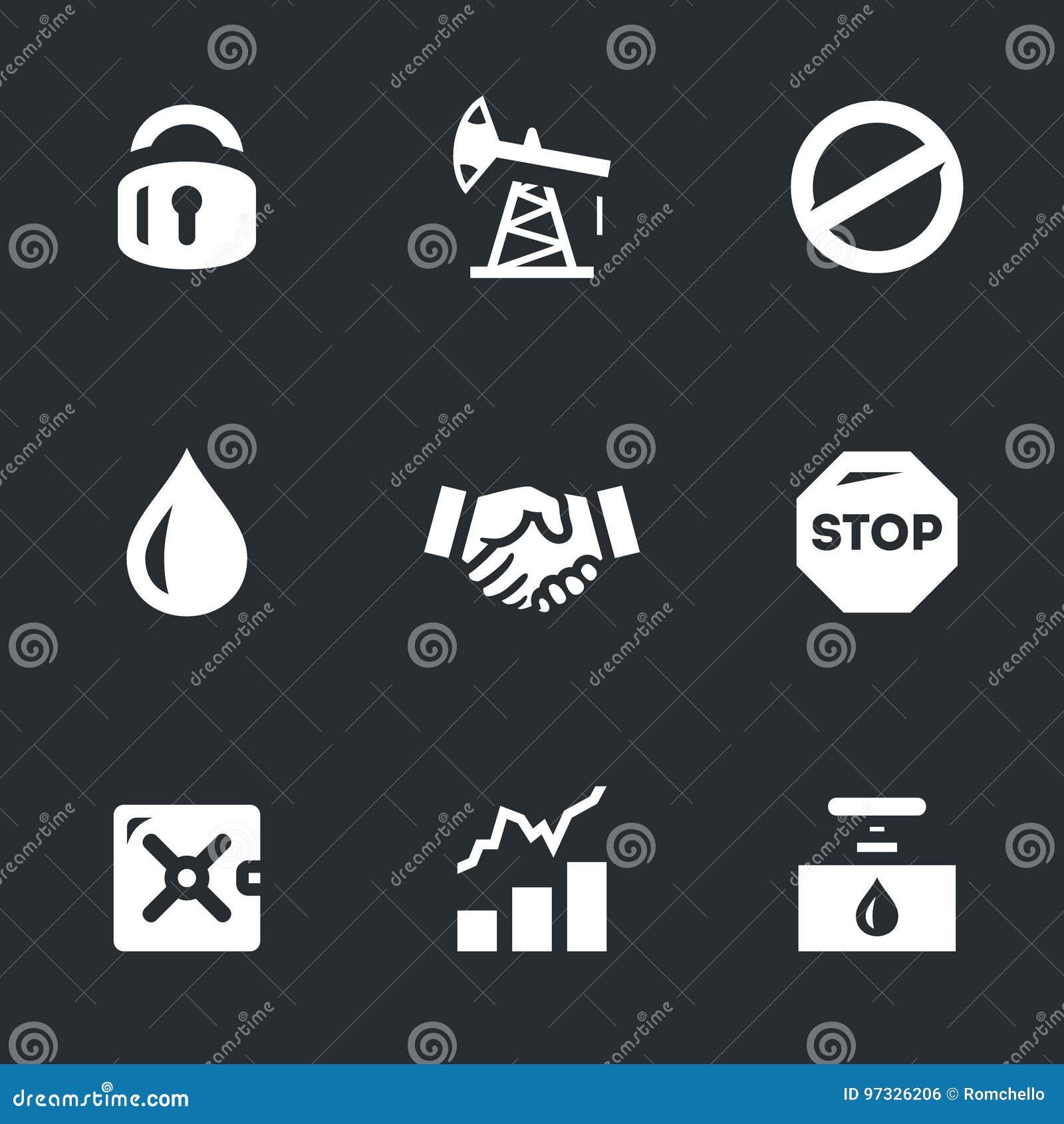 Insieme di vettore delle icone di limitazione dell olio