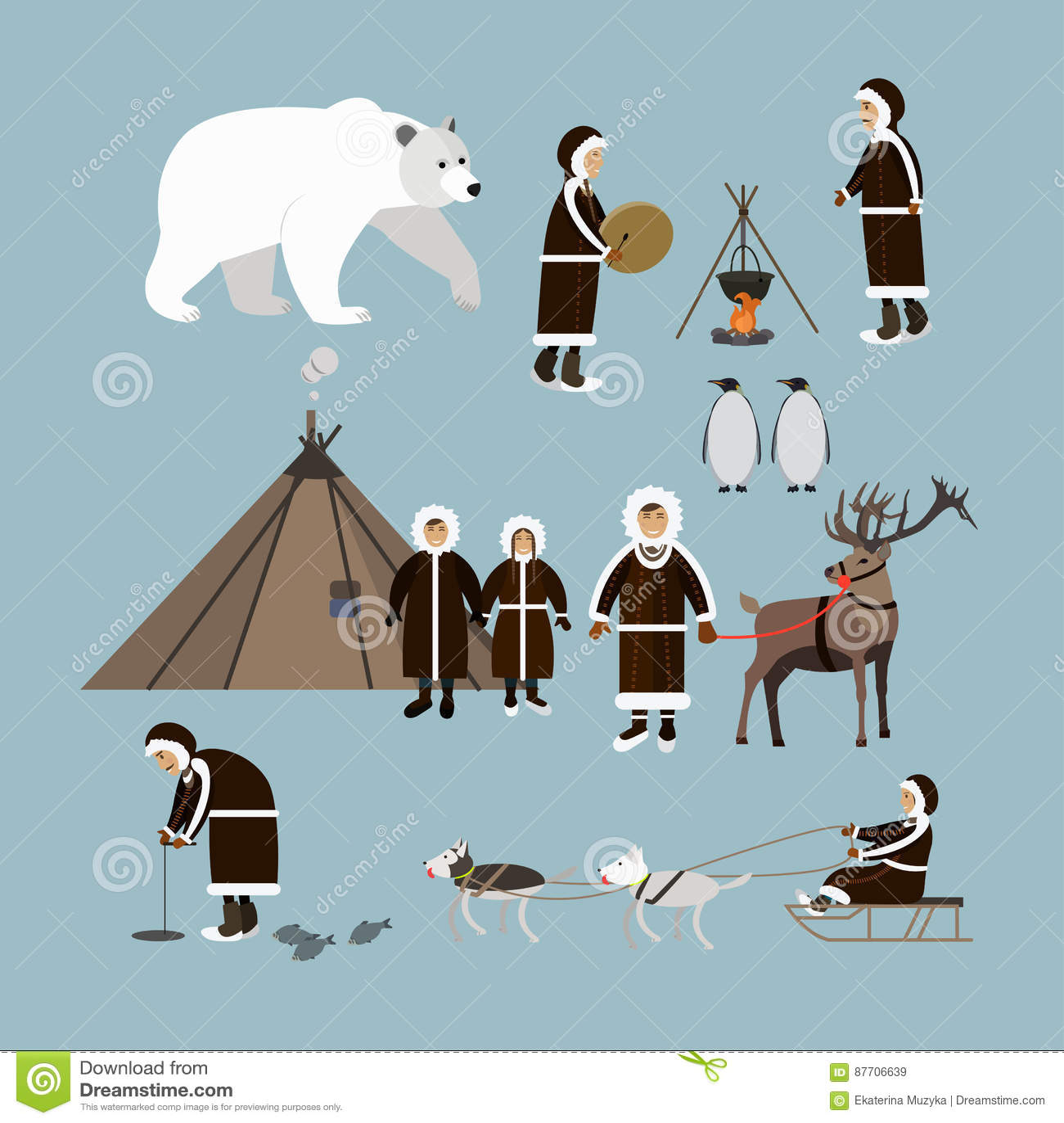 Insieme di vettore delle icone piane artiche di stile degli animali e della gente