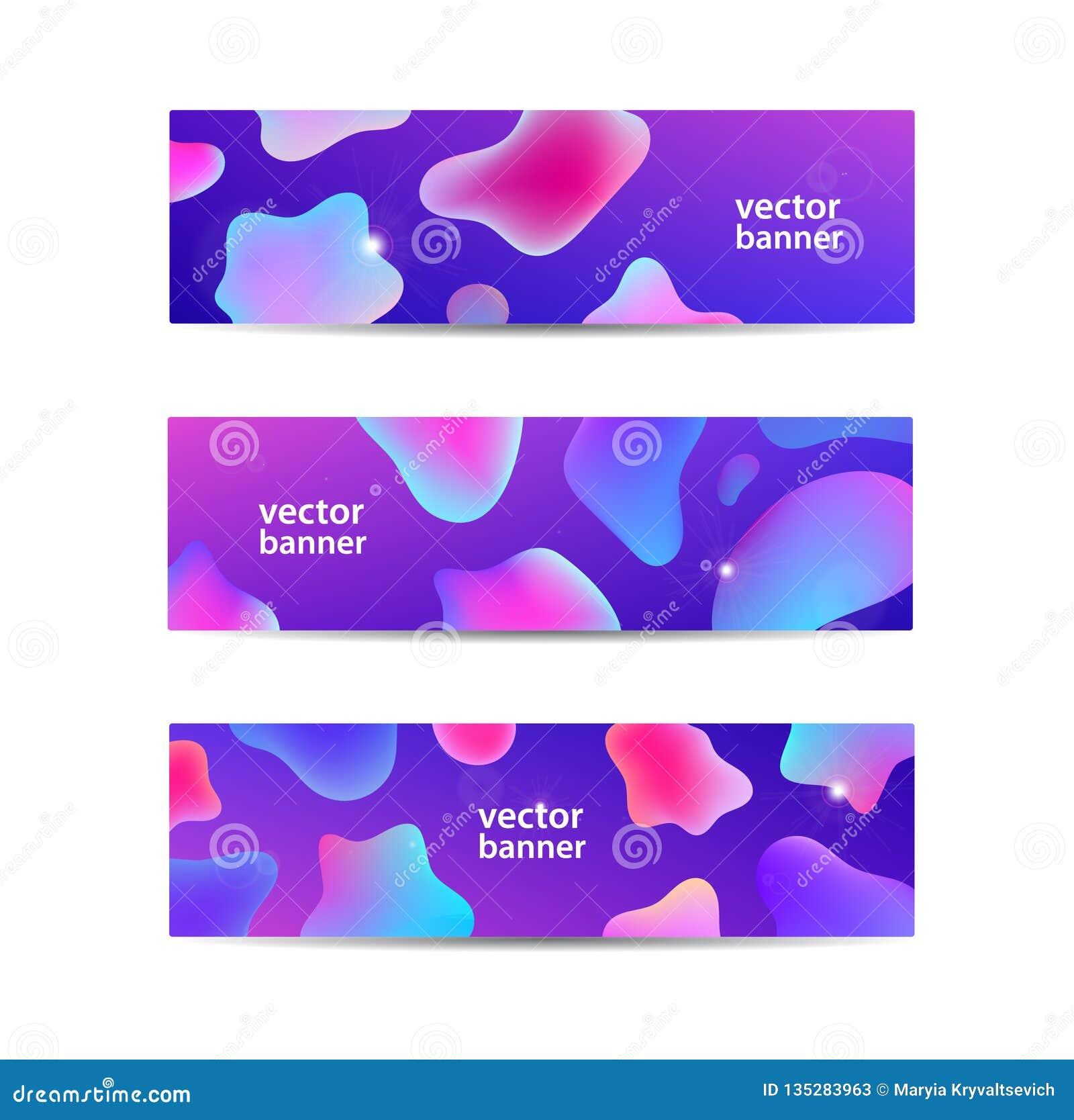 Insieme di vettore delle insegne liquide astratte orizzontali, intestazioni di web Progettazione fluida del fondo di colore, form