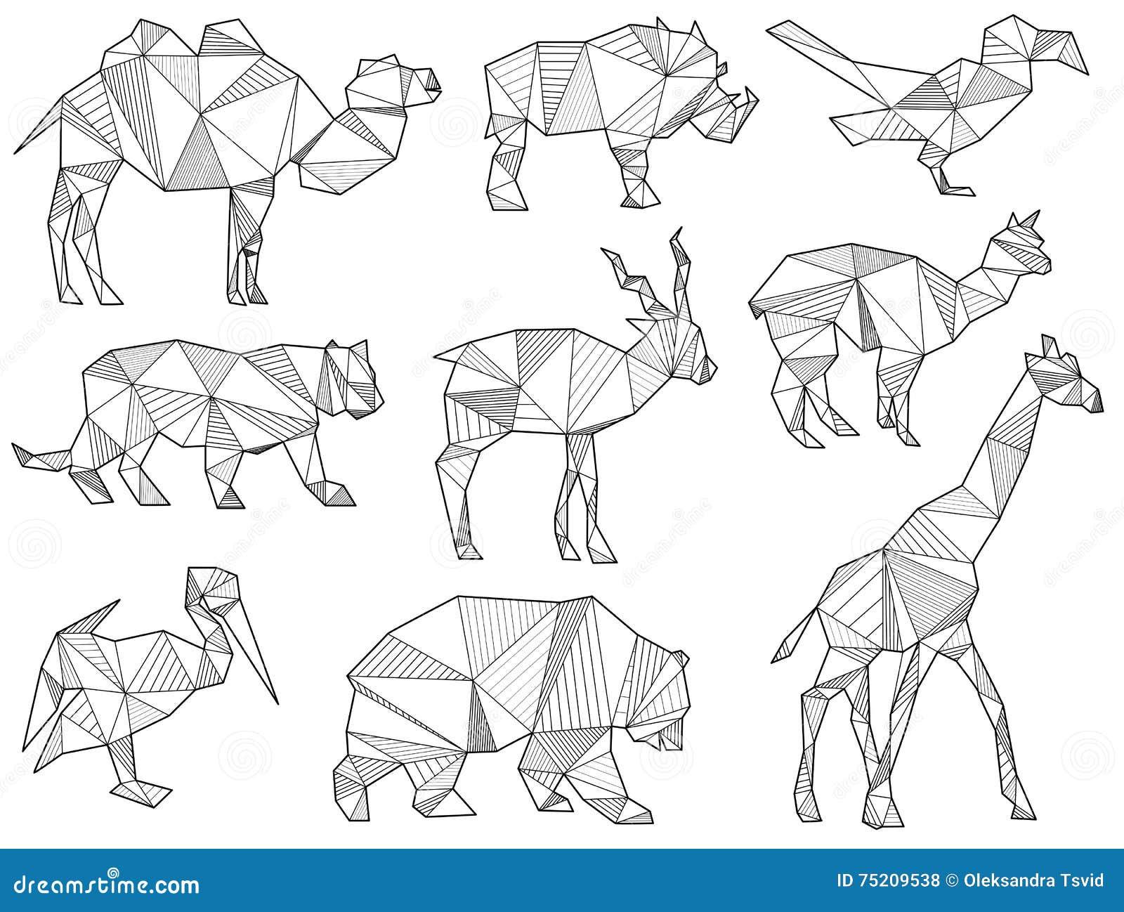 Insieme di vettore delle siluette dell animale selvatico di origami