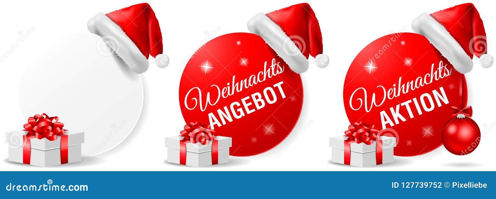 Insieme di vettore isolato bottone di azione di offerta di Natale di Weihnachts Angebot Aktion