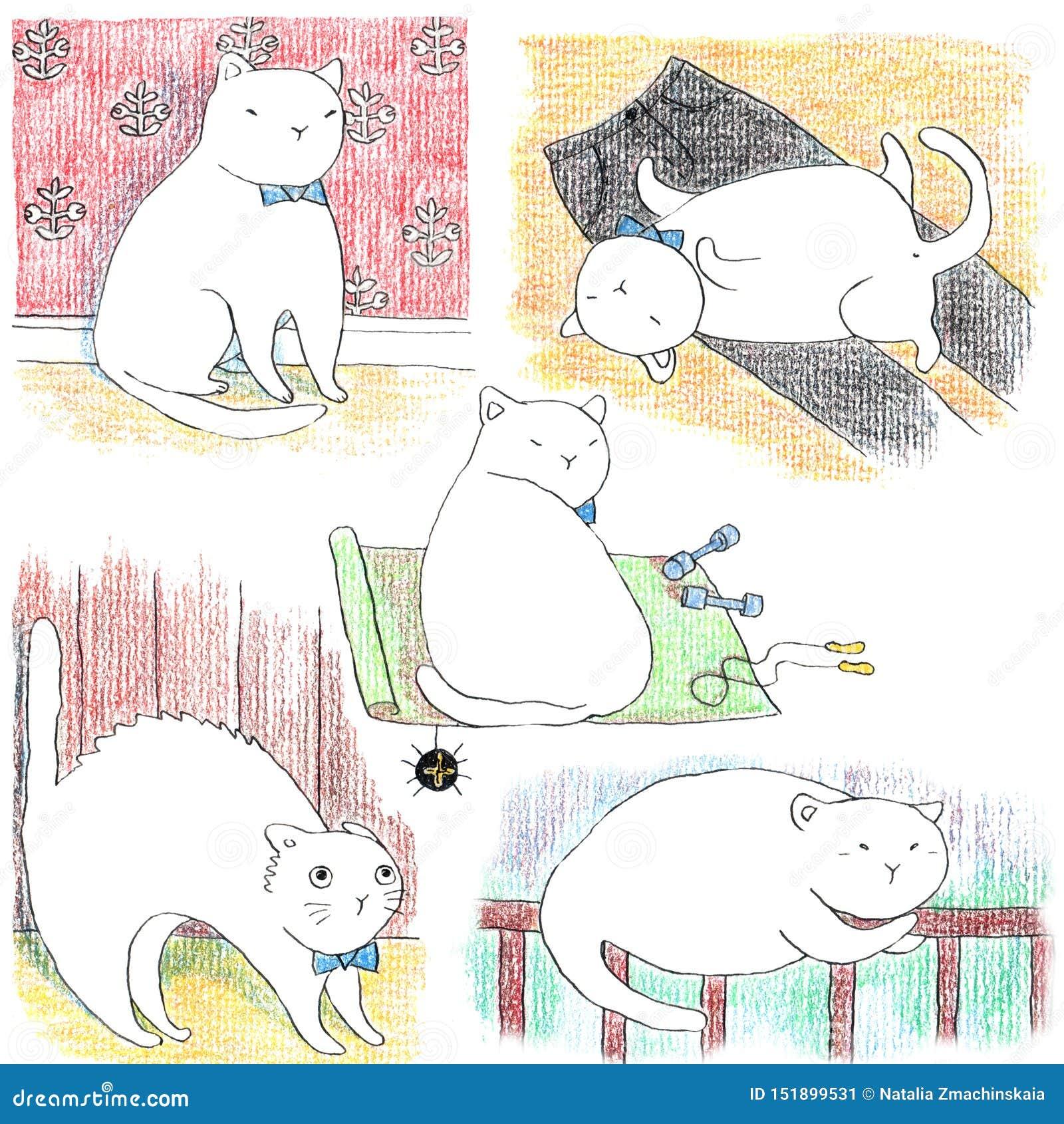 Insieme disegnato a mano dei gatti bianchi pigri divertenti