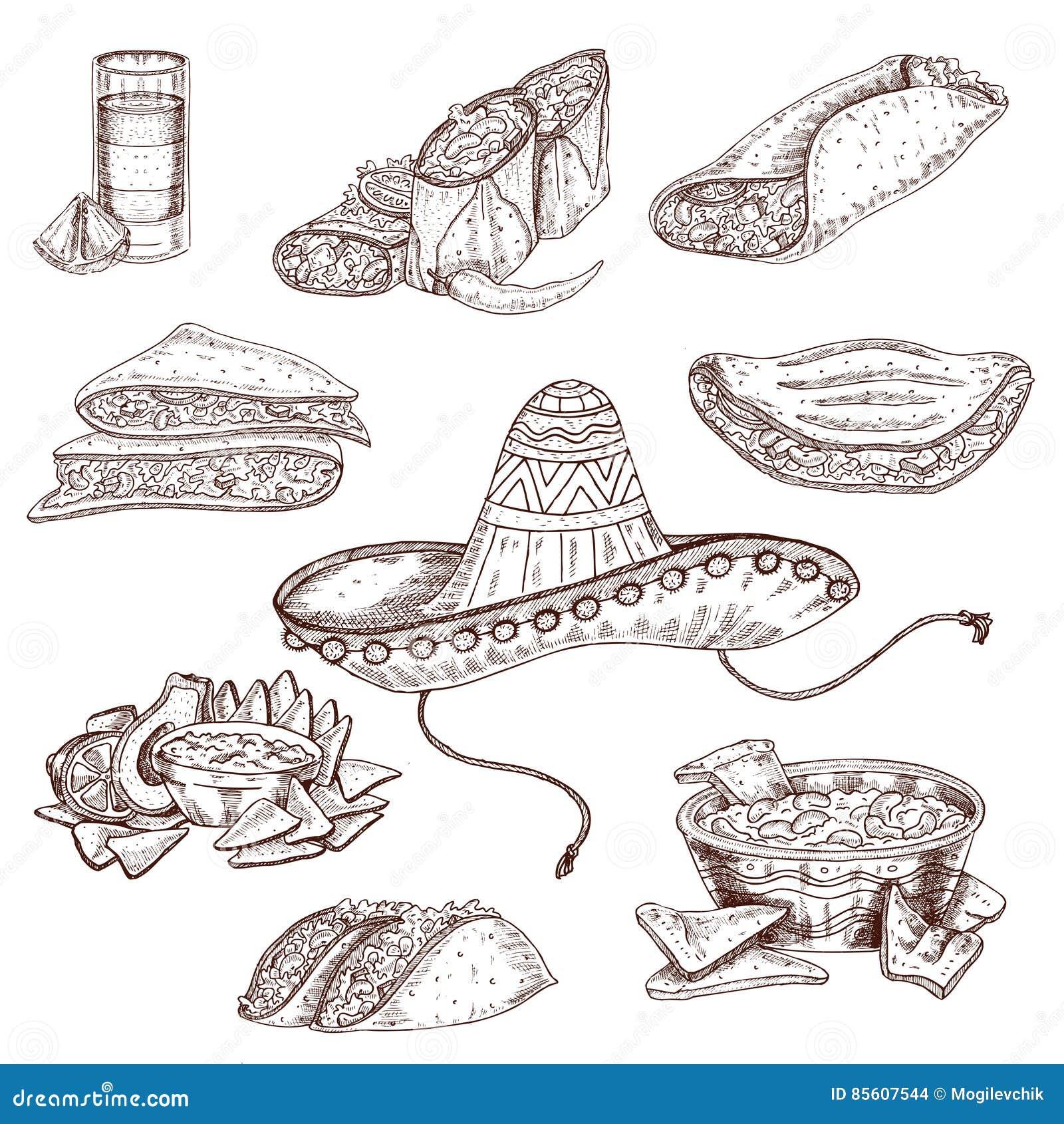 Insieme disegnato a mano dell alimento messicano