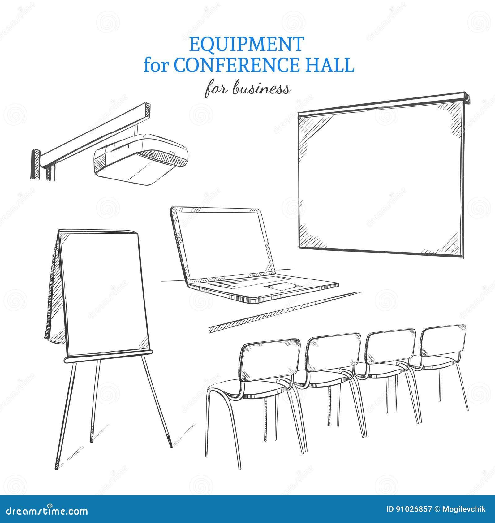 Insieme disegnato a mano dell attrezzatura di presentazione di affari