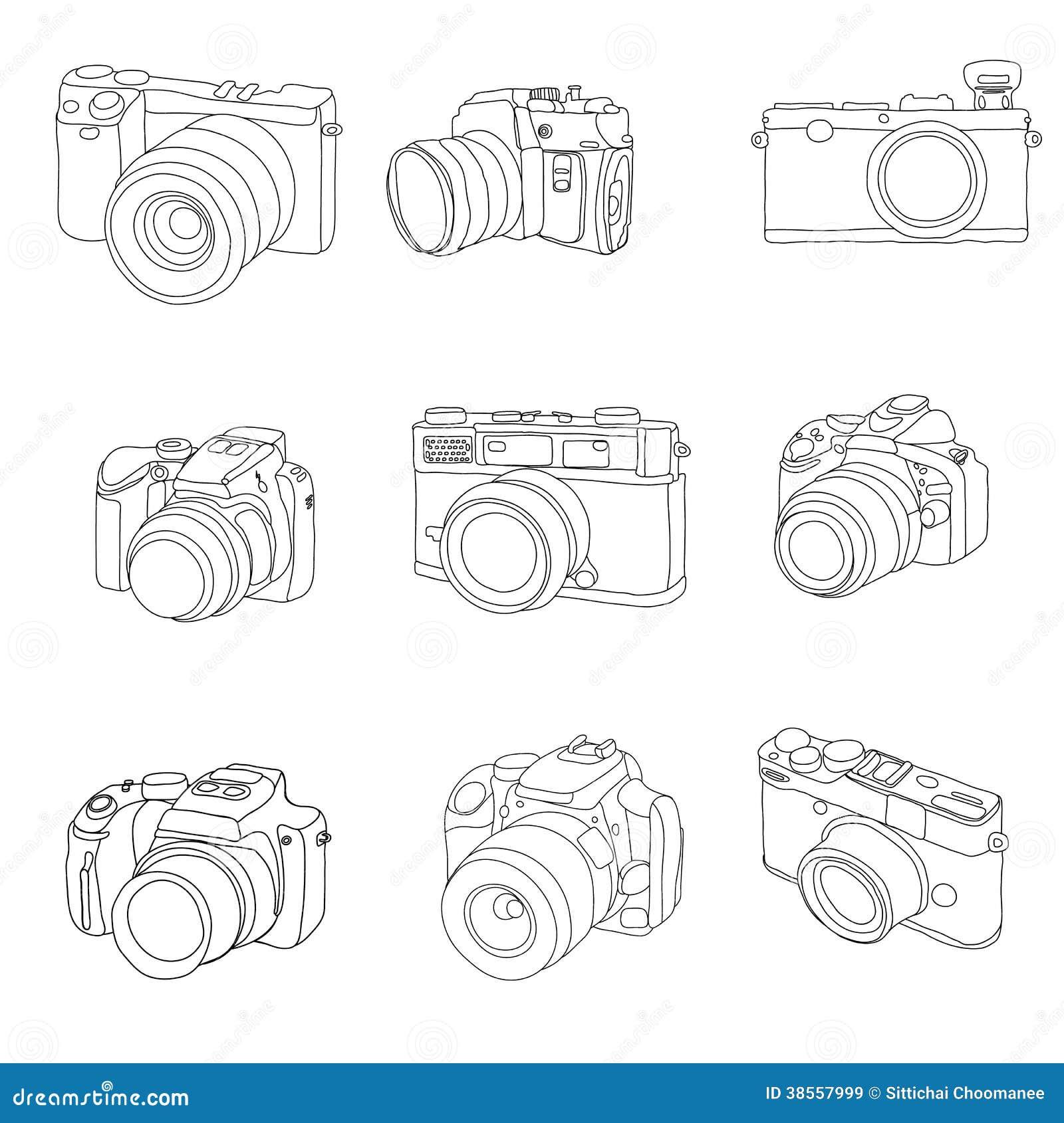 Insieme disegnato a mano delle macchine fotografiche di for Disegni delle macchine
