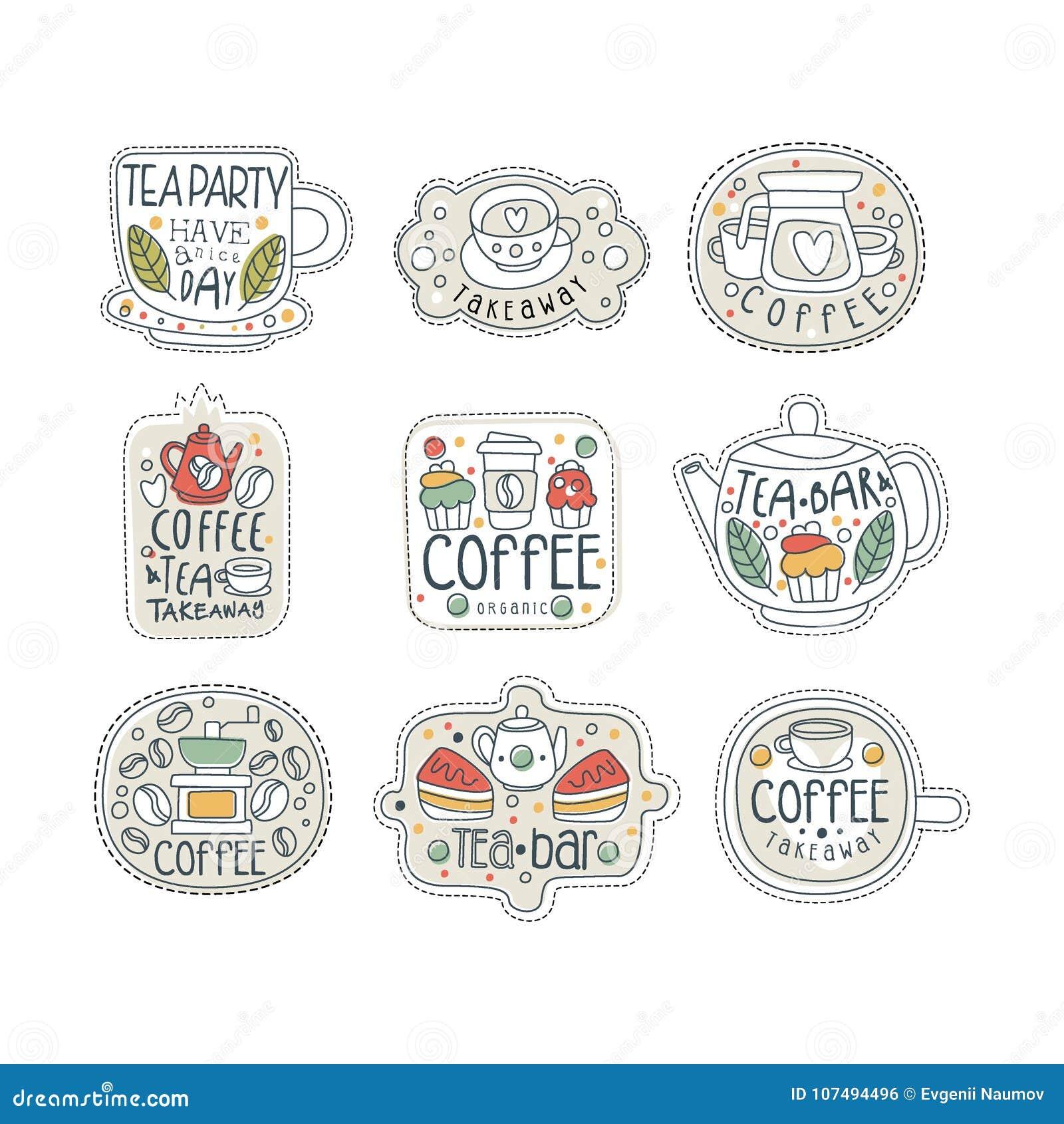 Insieme disegnato a mano sveglio delle etichette del tè e del caffè per il negozio, il caffè o la barra della via Porti via il de