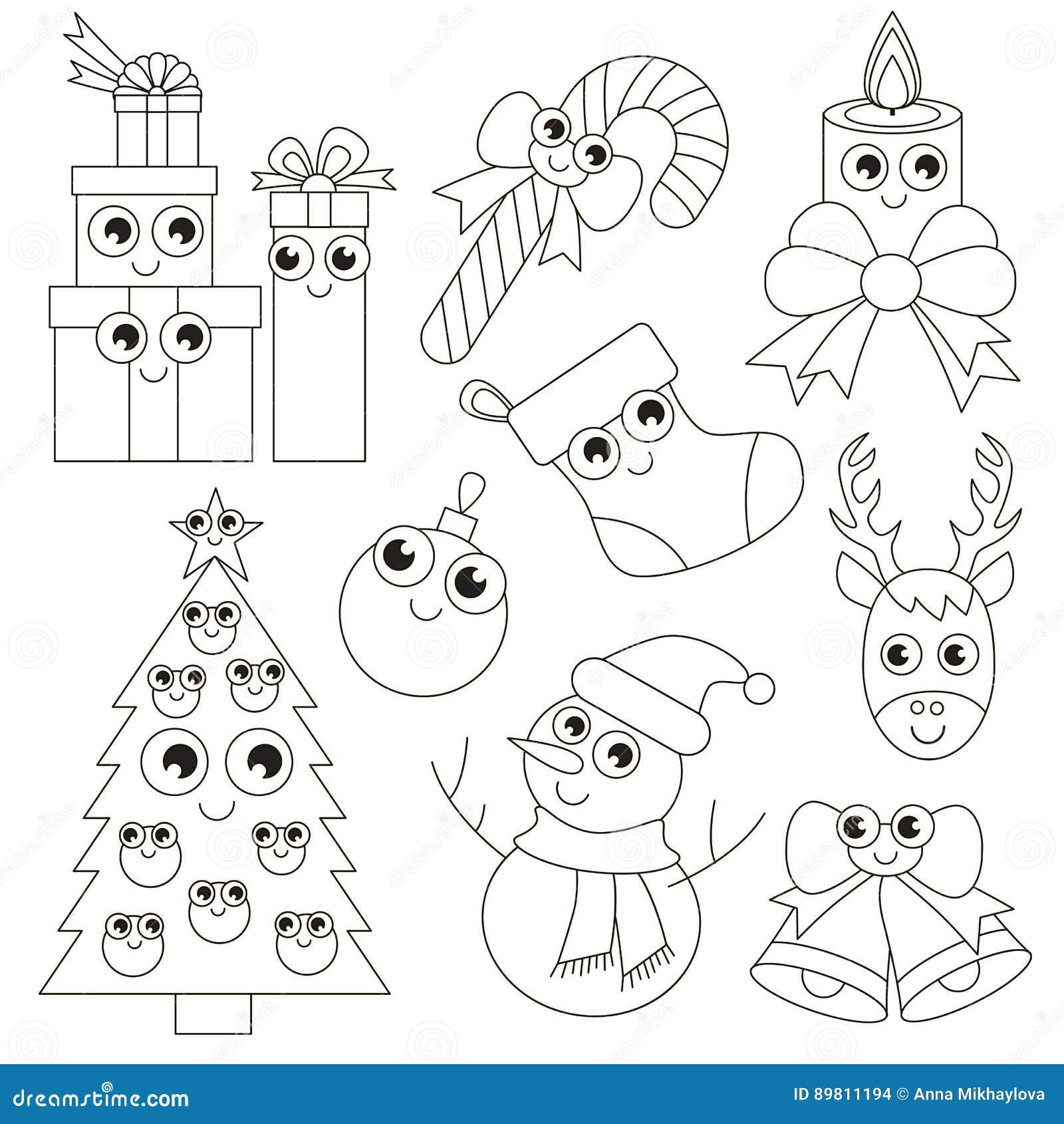 Insieme Divertente Di Festa Di Natale La Grande Pagina Da Colorare