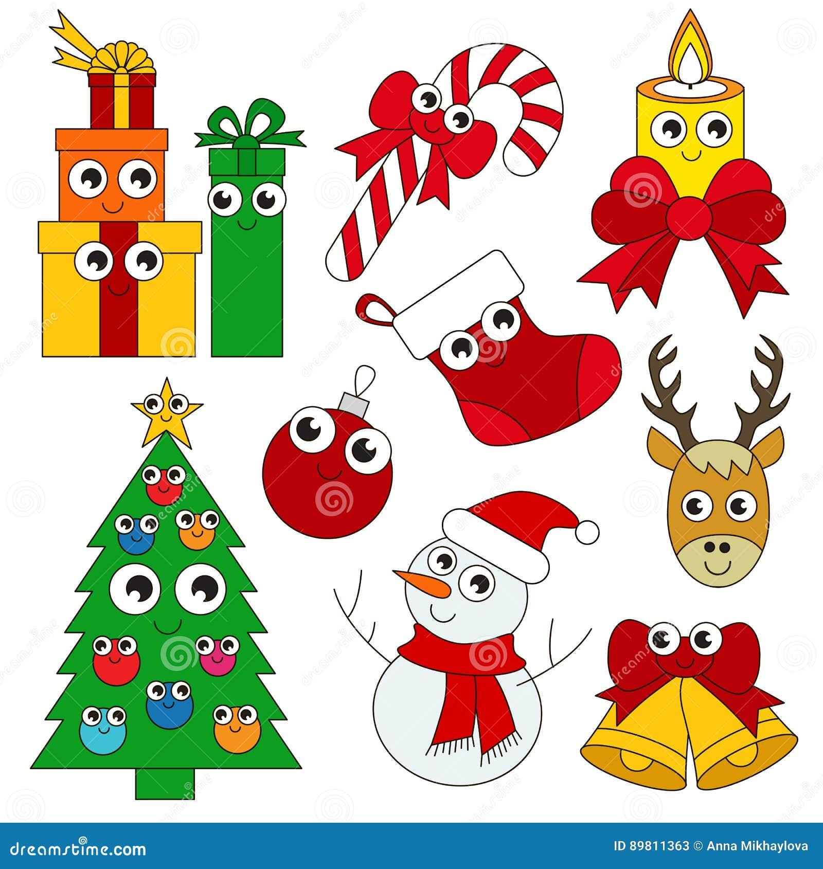 Insieme Divertente Di Festa Di Natale La Raccolta Del Modello Del