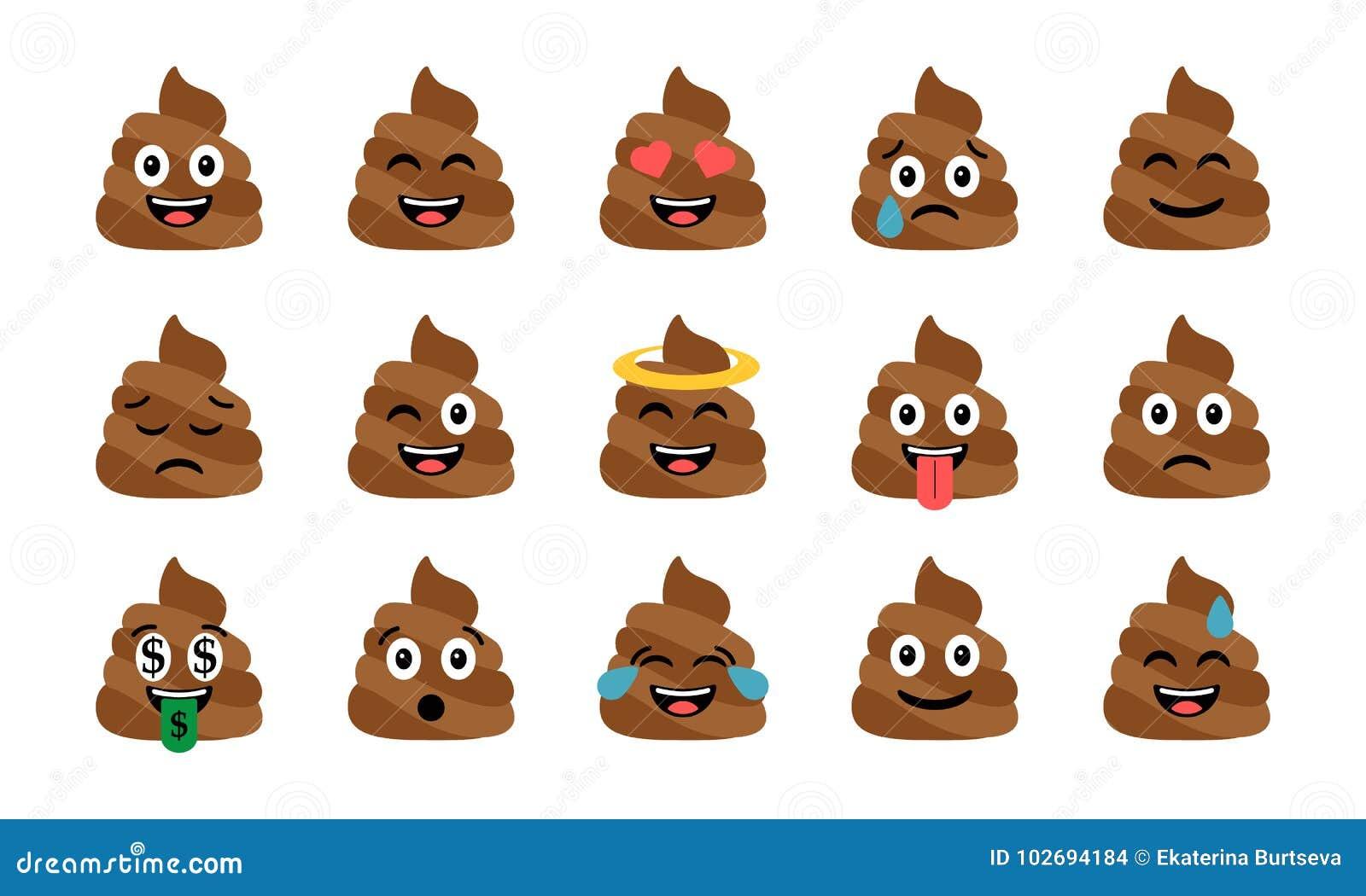 Insieme divertente sveglio della poppa Icone emozionali della merda Emoji felice, emoticon