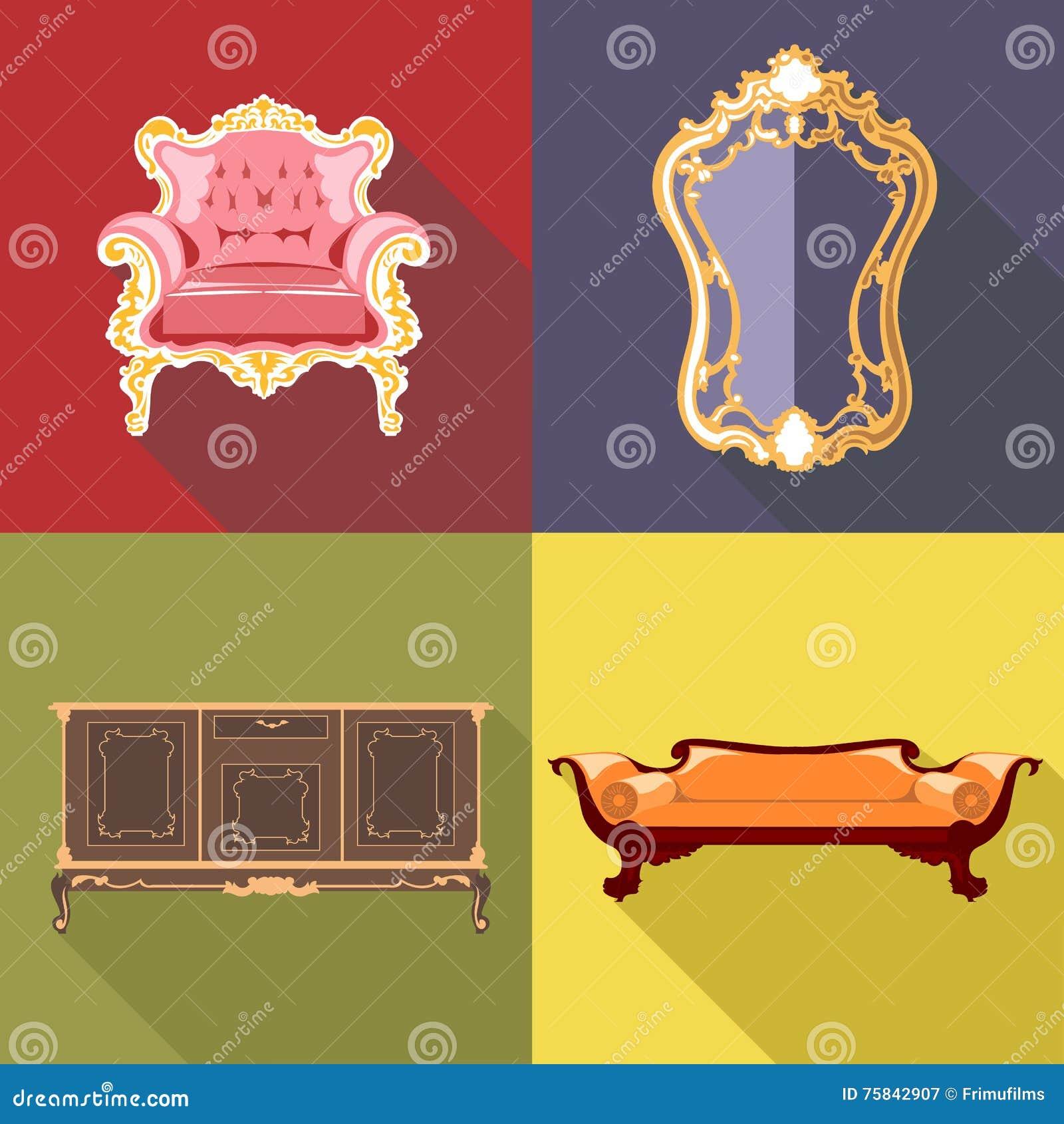 Insieme domestico dell 39 icona della decorazione del salone for Disegno di piano domestico
