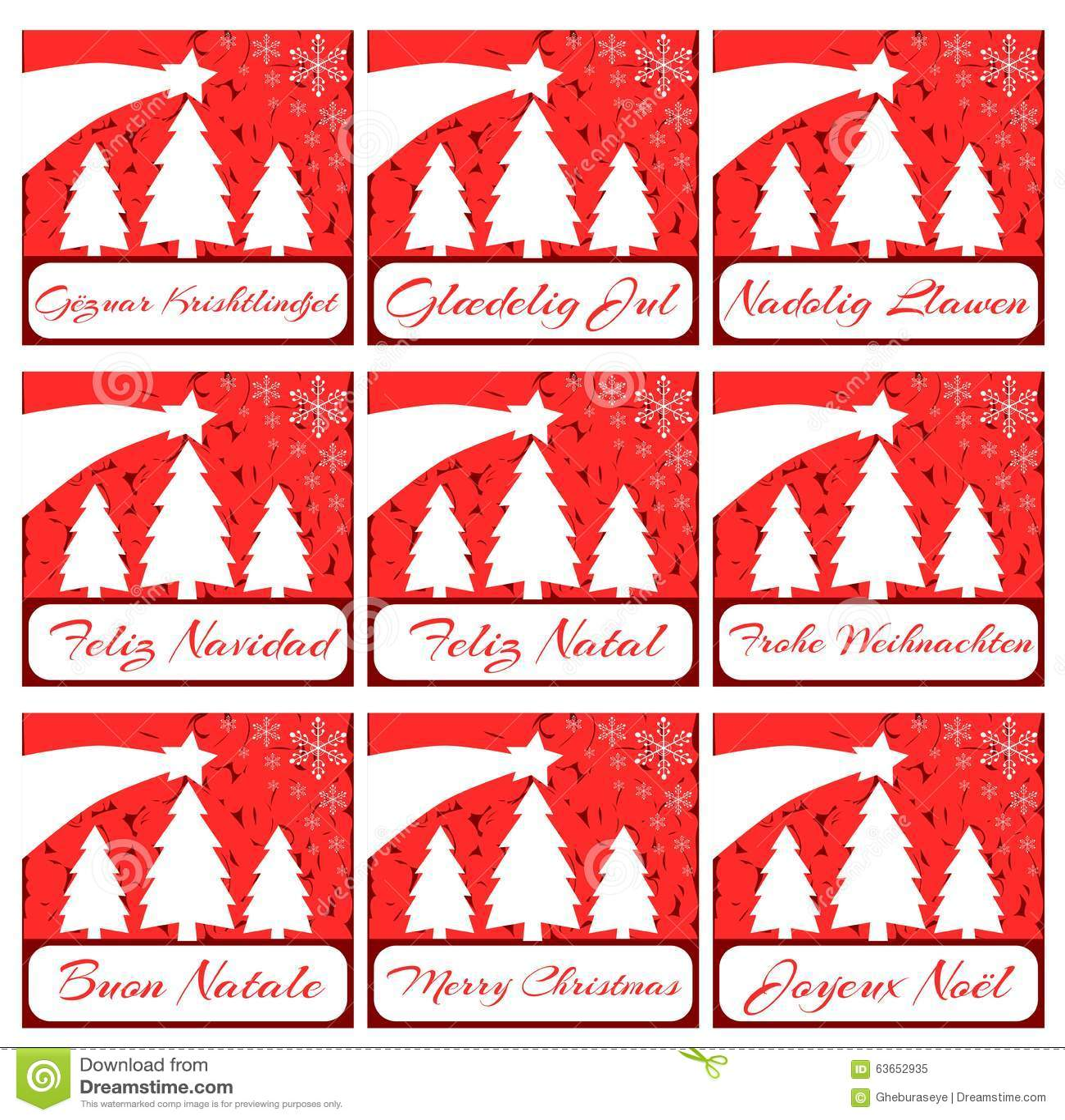 Auguri Di Natale In Albanese.Insieme Elegante Della Cartolina D Auguri Di Natale Nel Rosso