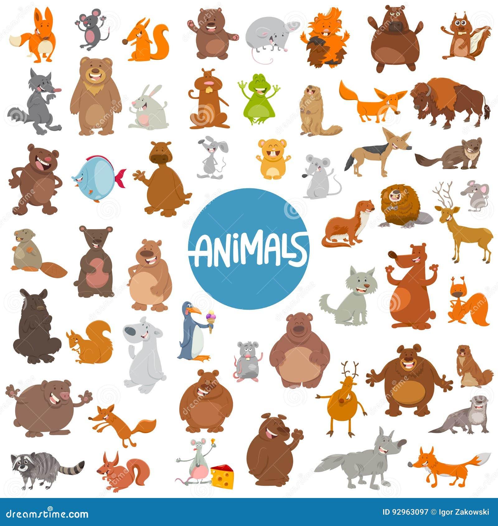 Insieme enorme dei caratteri animali del fumetto