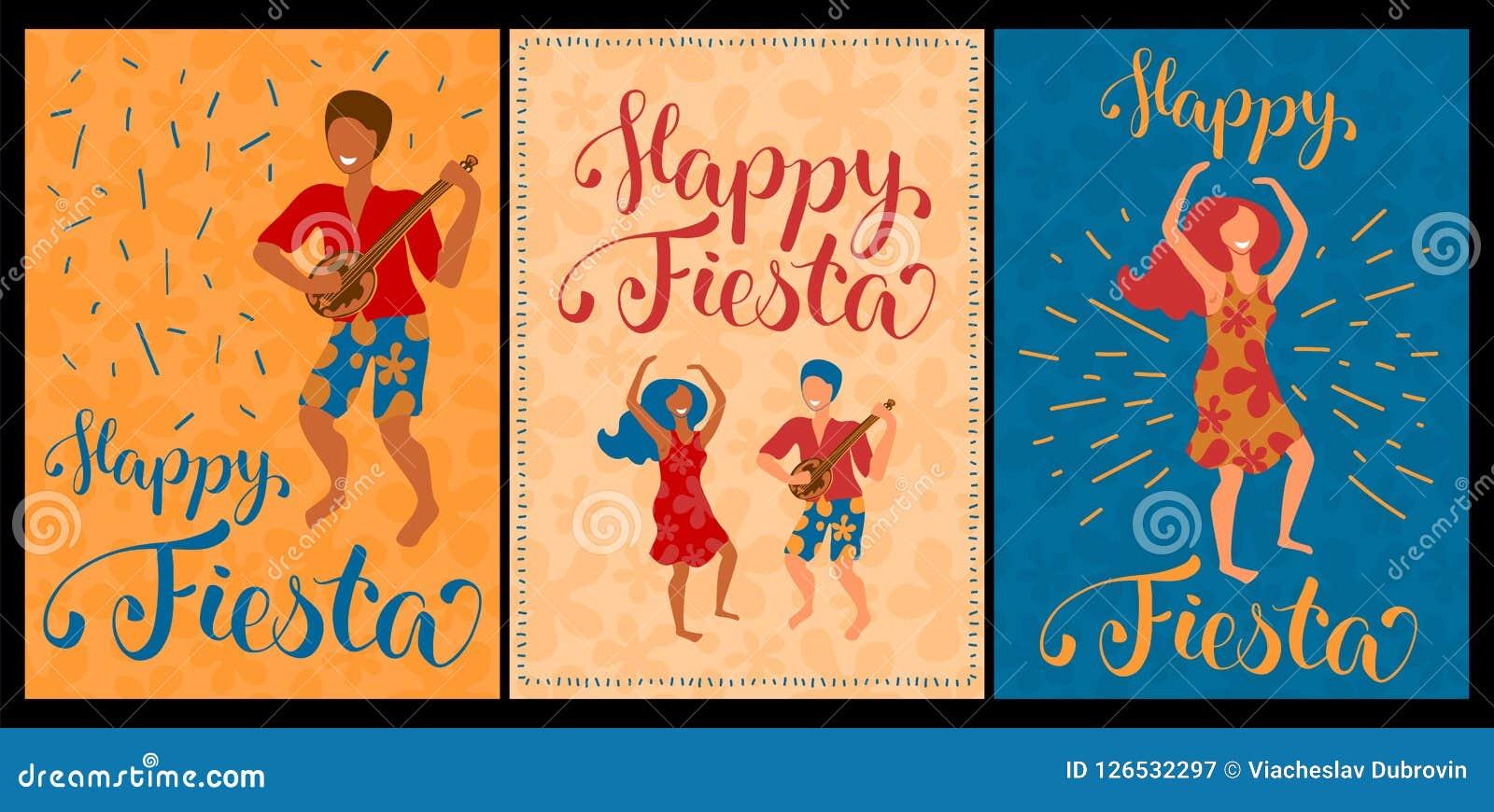 Insieme felice di festa delle carte di vettore con le coppie e l iscrizione ballanti Raccolta del manifesto di ballo di Latina