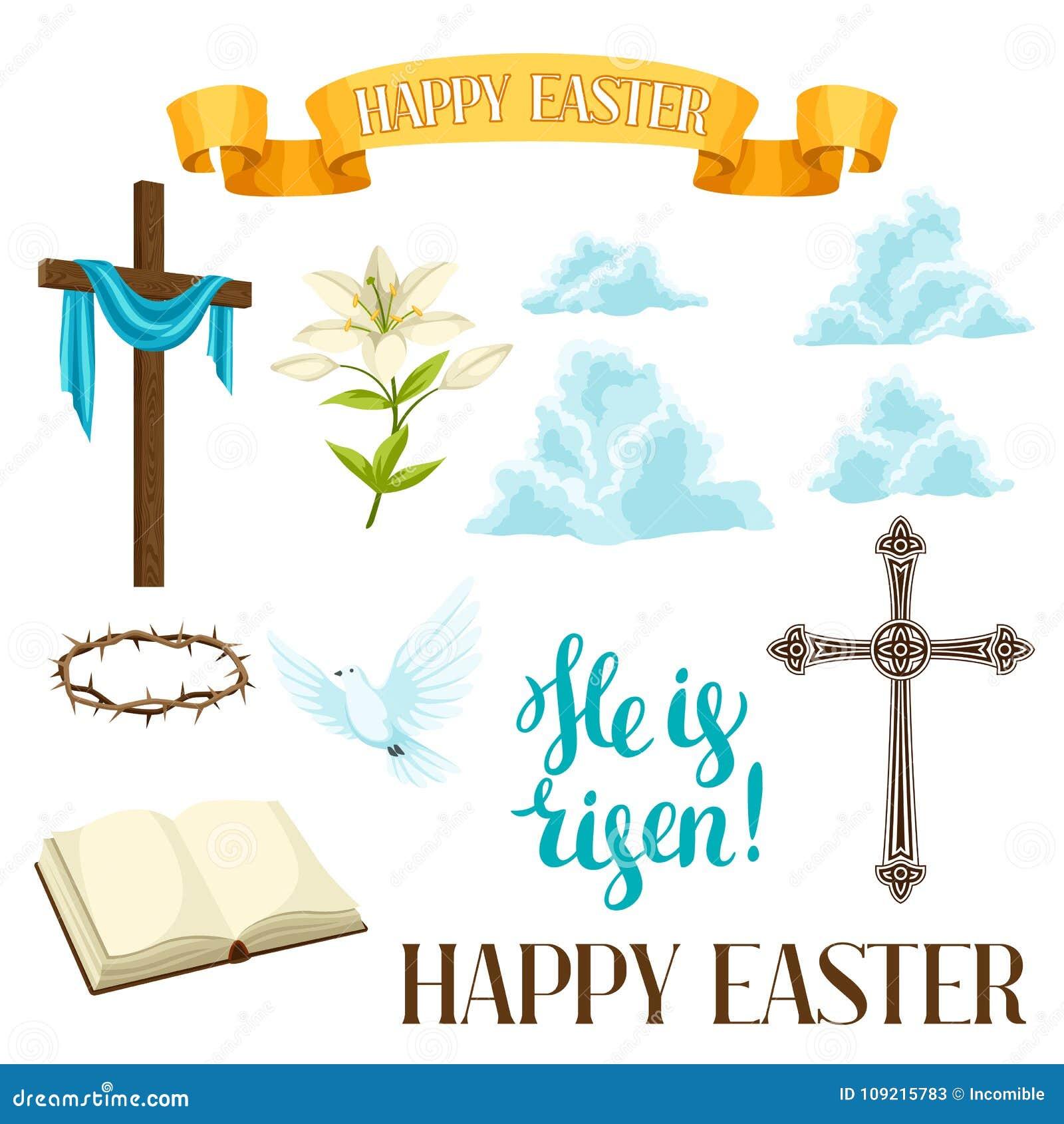 Insieme felice di Pasqua degli oggetti decorativi Simboli religiosi di fede