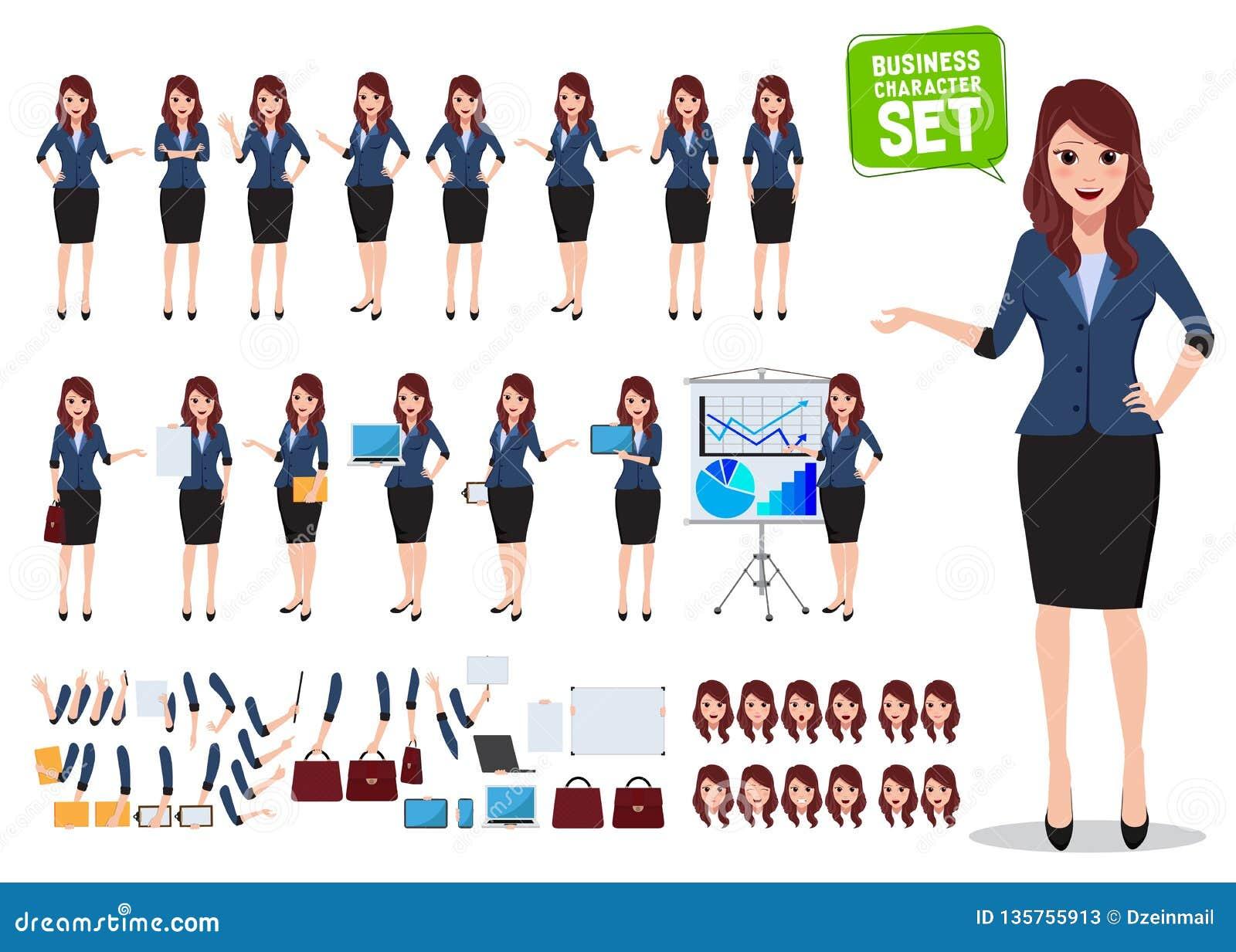 Insieme femminile di vettore del carattere di affari Donna dell ufficio che parla con le varie pose