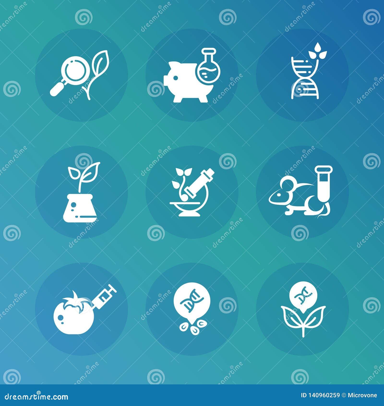 Insieme genetico delle icone di vettore di biotecnologia di modifica e di ricerca del DNA