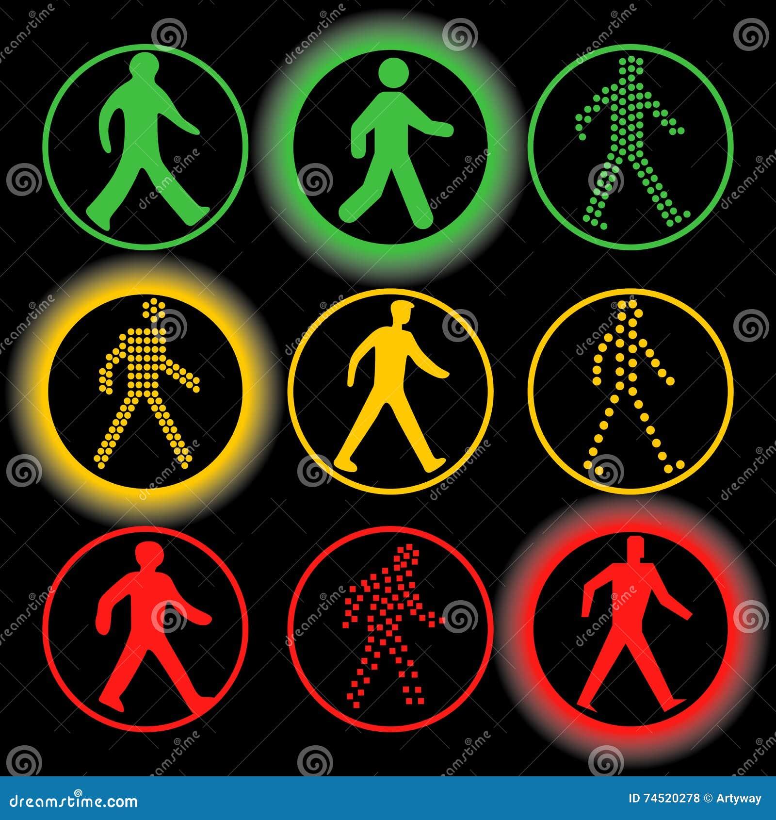 Insieme isolato di logo di vettore degli elementi dei semafori Segnali stradali circolari