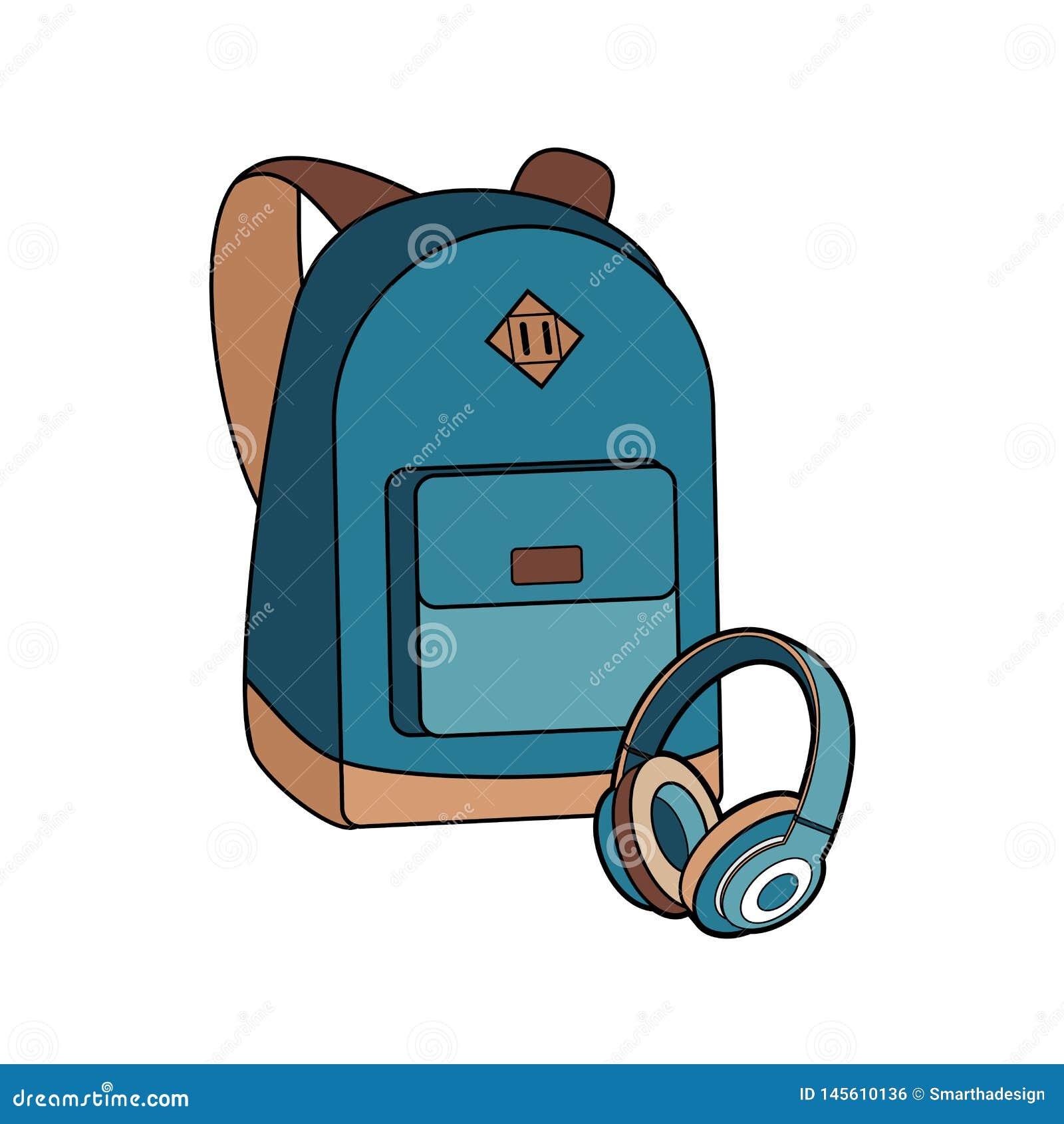 Insieme isolato vettore dello zaino, della borsa, dello Zaino e delle cuffie Illustrazione dello zaino dei pantaloni a vita bassa