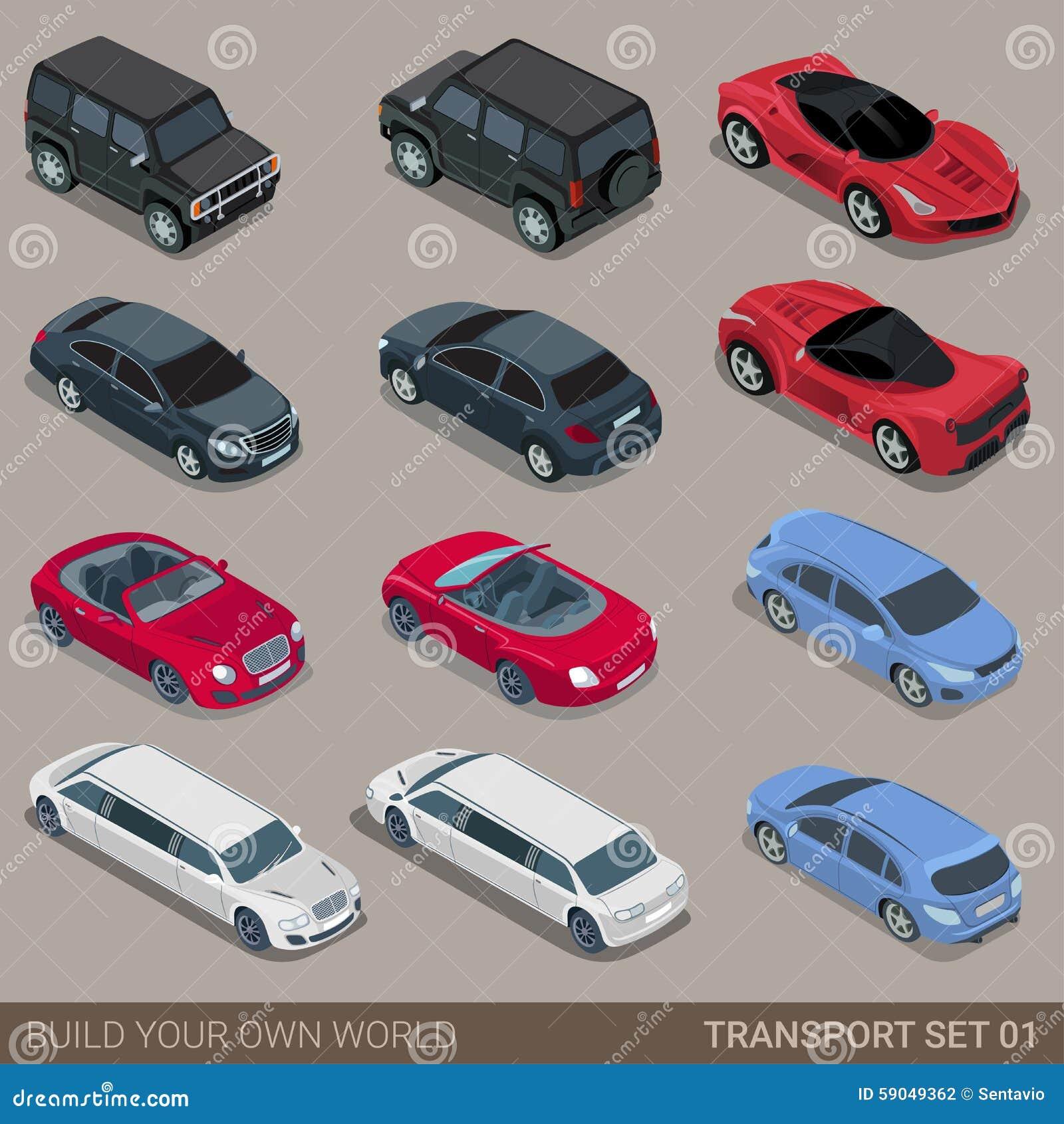 Insieme isometrico piano dell icona del trasporto stradale della città 3d