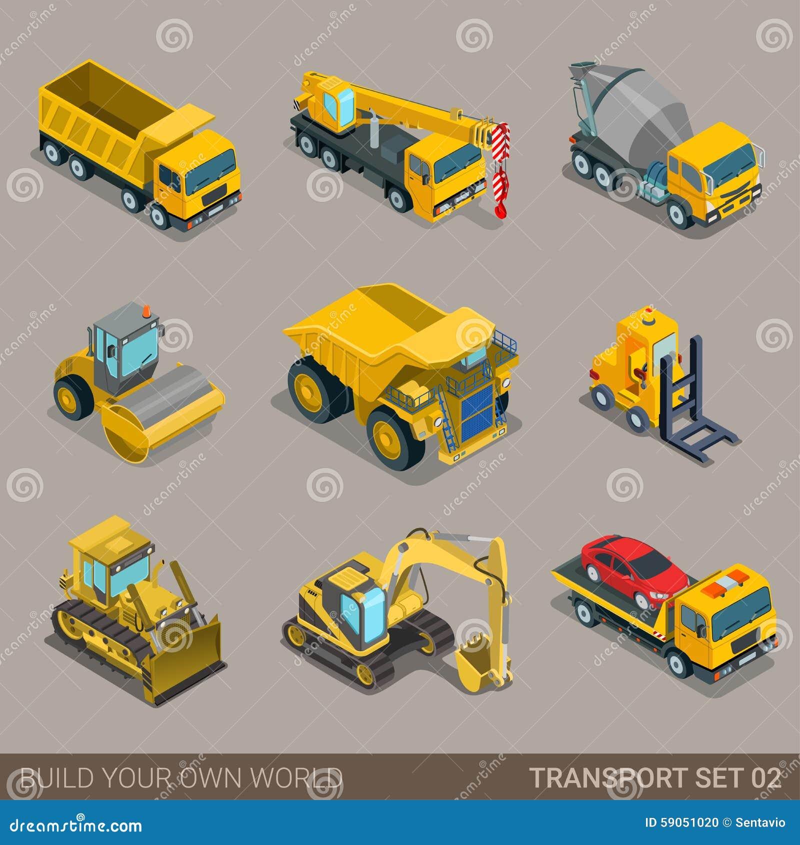 Insieme isometrico piano dell icona di trasporto della costruzione della città 3d