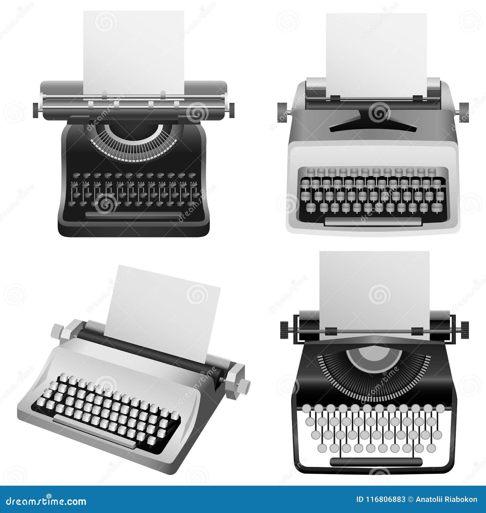 Insieme a macchina del modello della macchina da scrivere vecchio, stile realistico