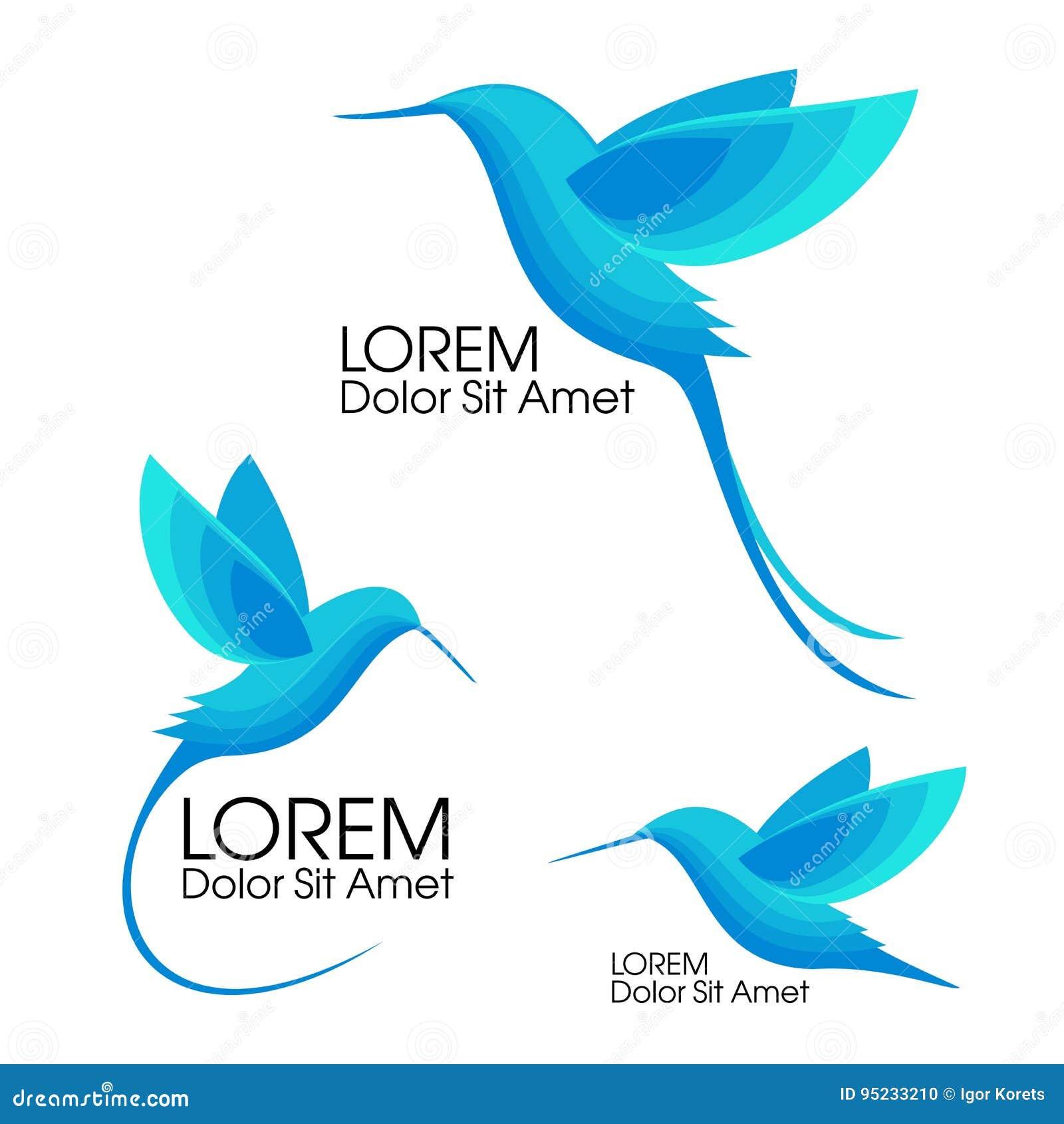 Insieme moderno Uccelli blu, Colibri in volo, progettazione minimalistic d avanguardia del modello per il logos, emblemi, simboli
