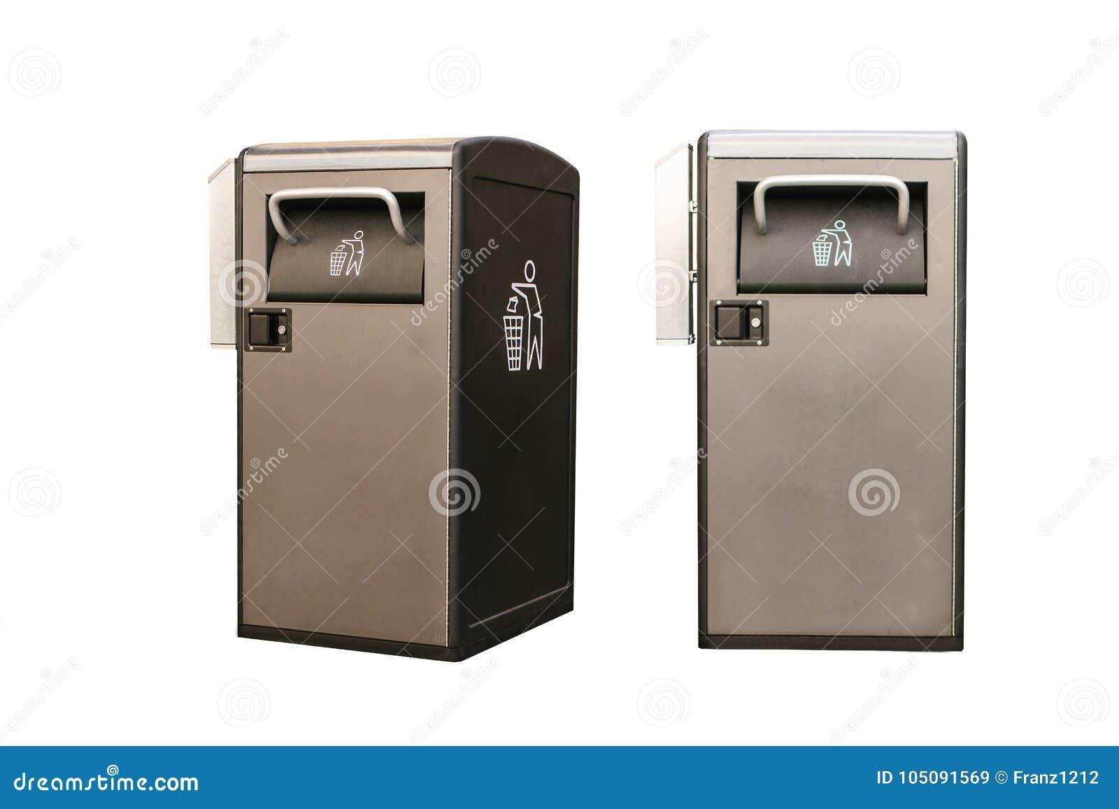 Insieme Oggetti nelle posizioni differenti Recipiente astuto moderno isolato su fondo bianco Raccolta dei rifiuti