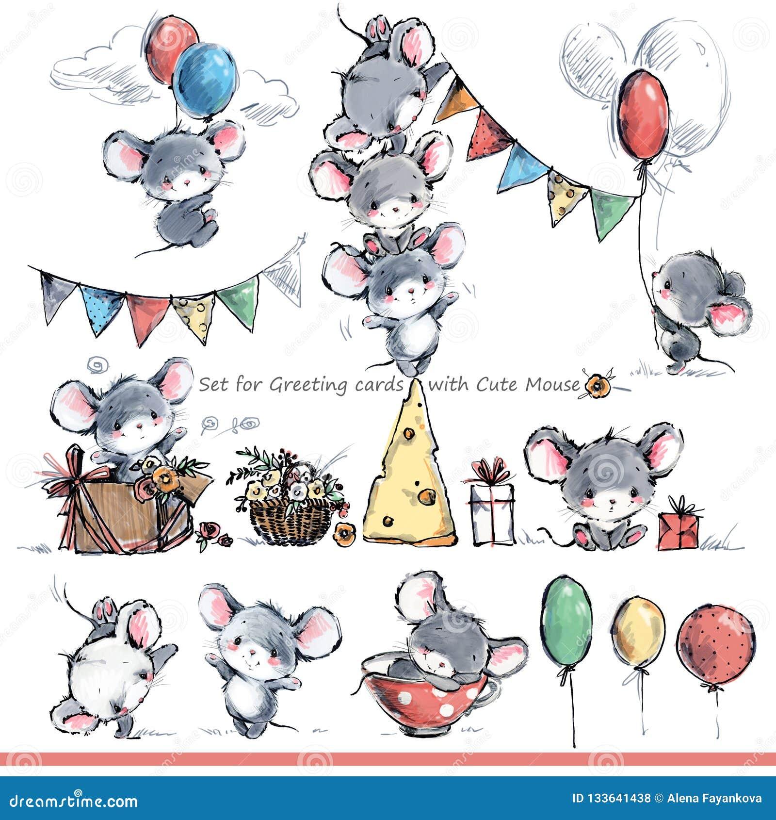 Insieme per le cartoline d auguri con i topi svegli Topo divertente del fumetto