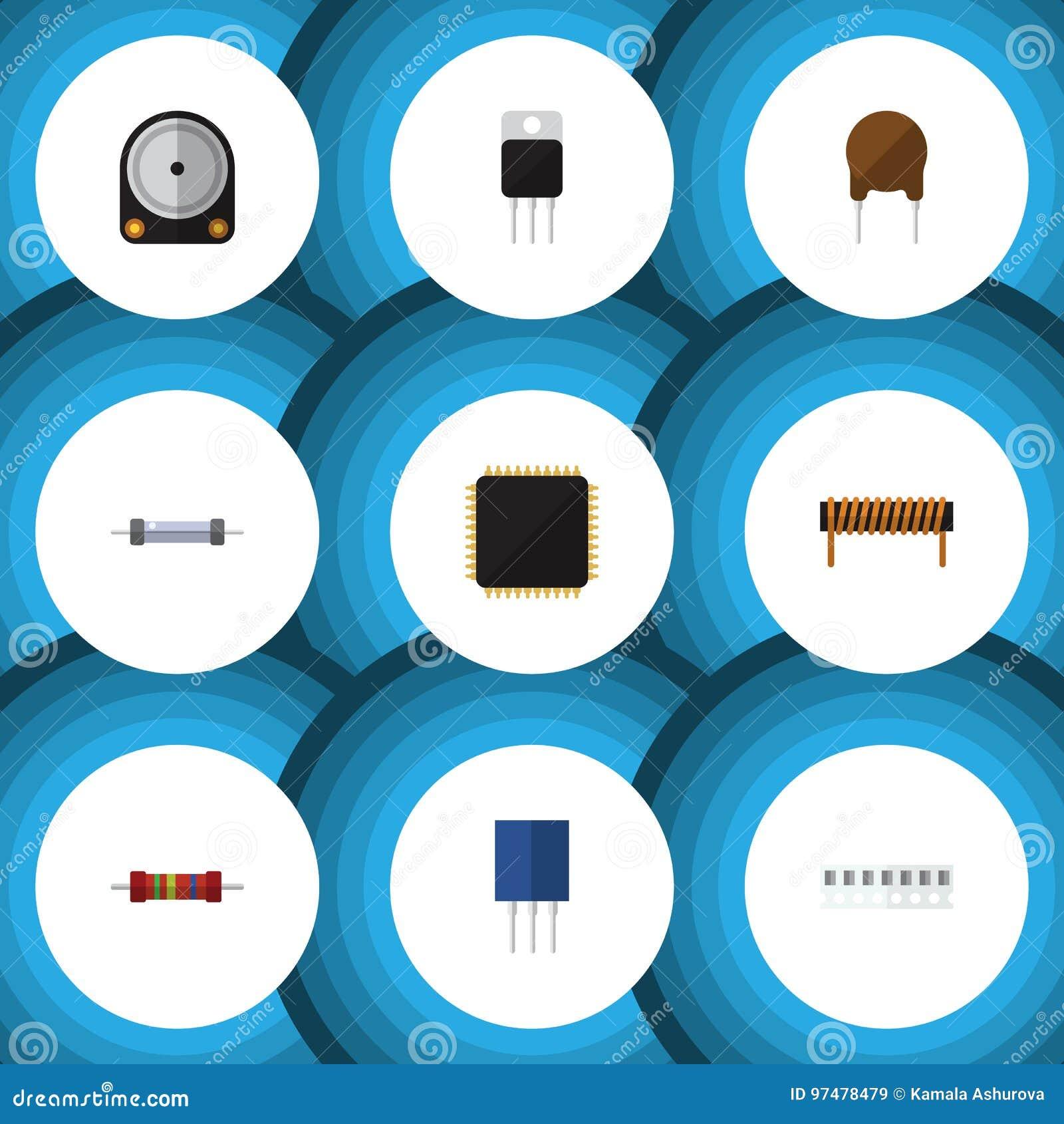 Insieme piano degli apparecchi dell icona del CPU, della bobina, della resistenza e di altri oggetti di vettore Inoltre include i