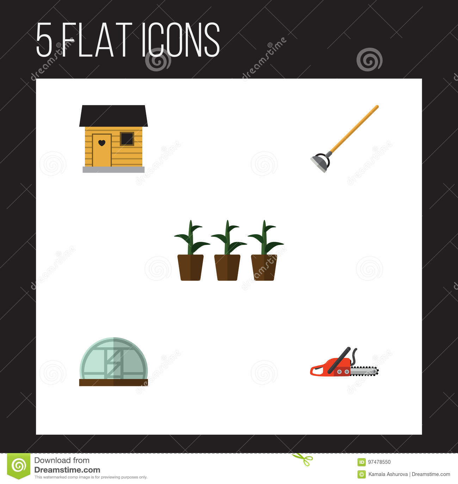 Insieme piano del giardino dell icona di stallaggio, del vaso da fiori, della serra e di altri oggetti di vettore Inoltre include