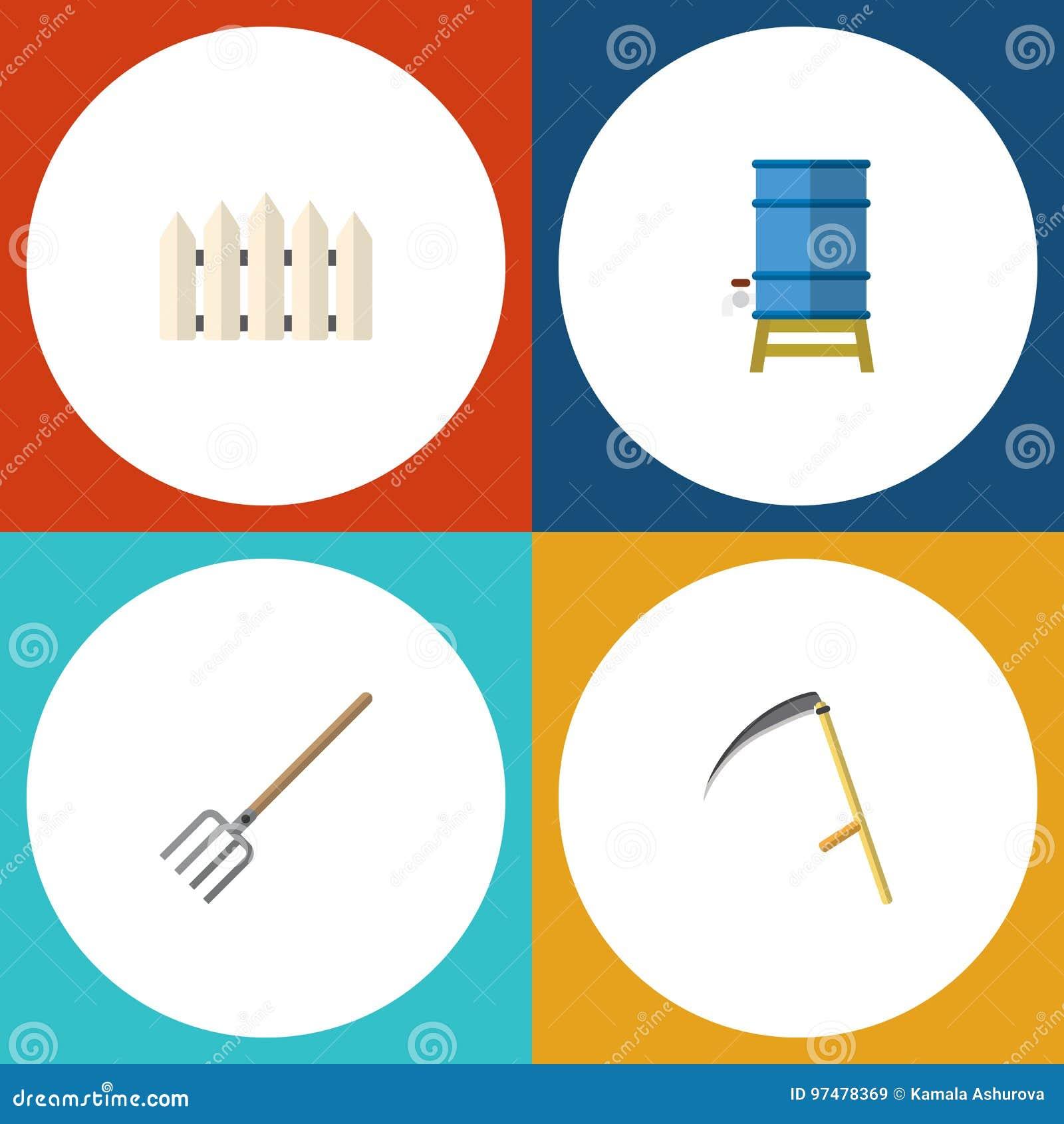 Insieme piano dell azienda agricola dell icona del contenitore, barriera di legno, oggetti di Hay Fork And Other Vector Inoltre i
