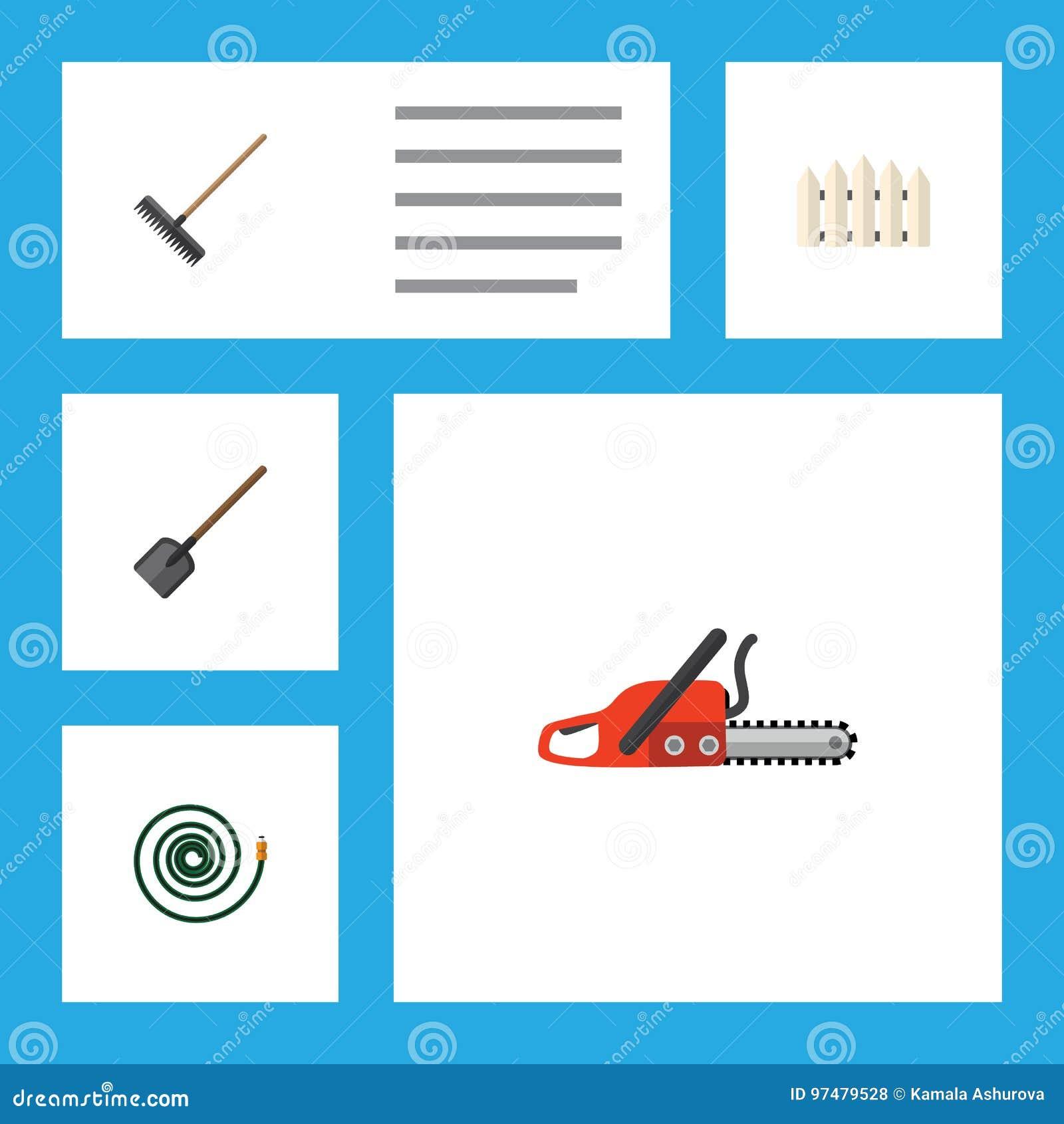 Insieme piano della dacia dell icona della barriera di legno, del tubo, del seghetto a mano per metalli e di altri oggetti di vet